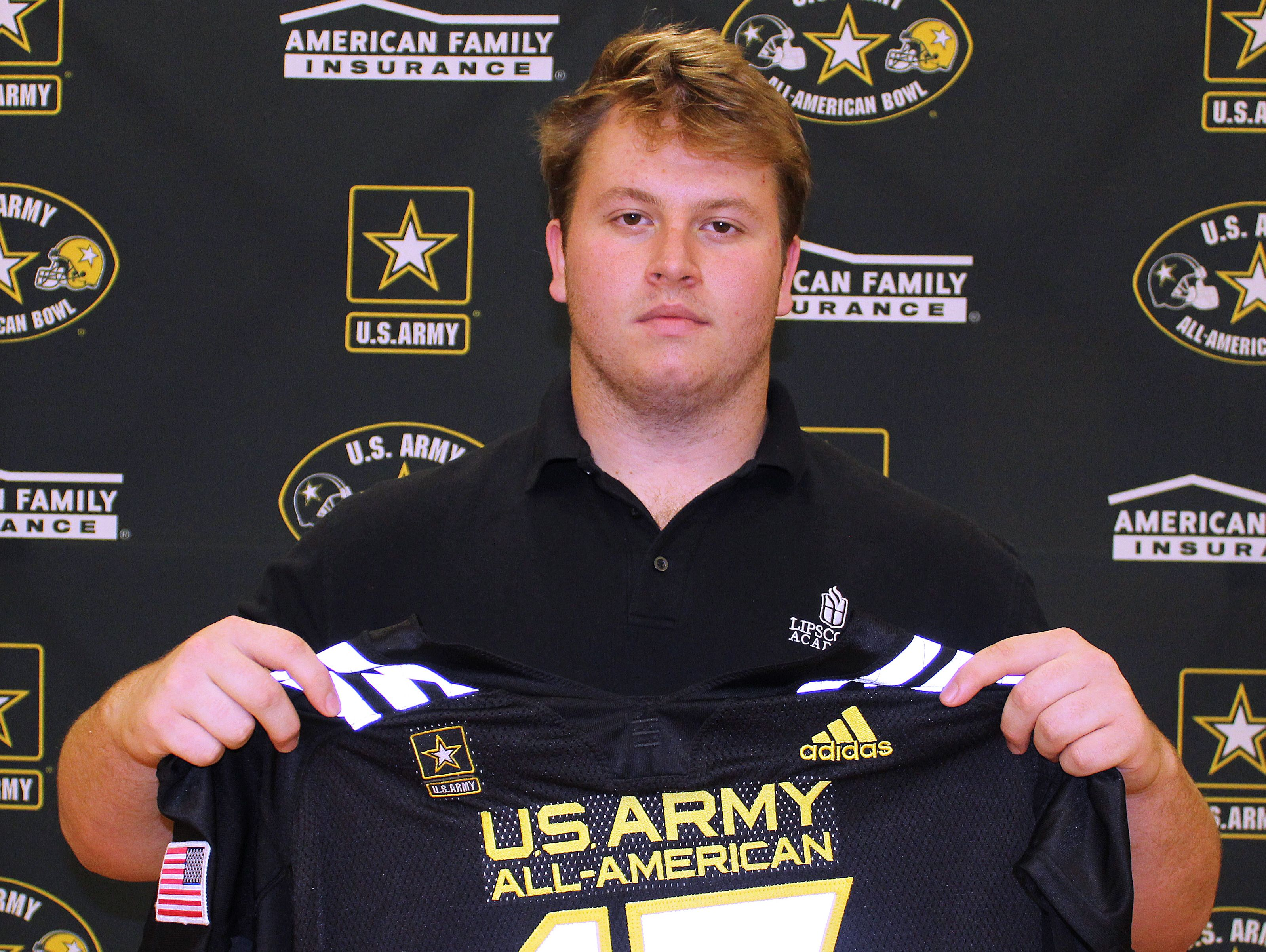 Lipscomb Academy senior Rutger Reitmaier received an honorary jersey for the U.S. Army All-American Bowl on Friday.