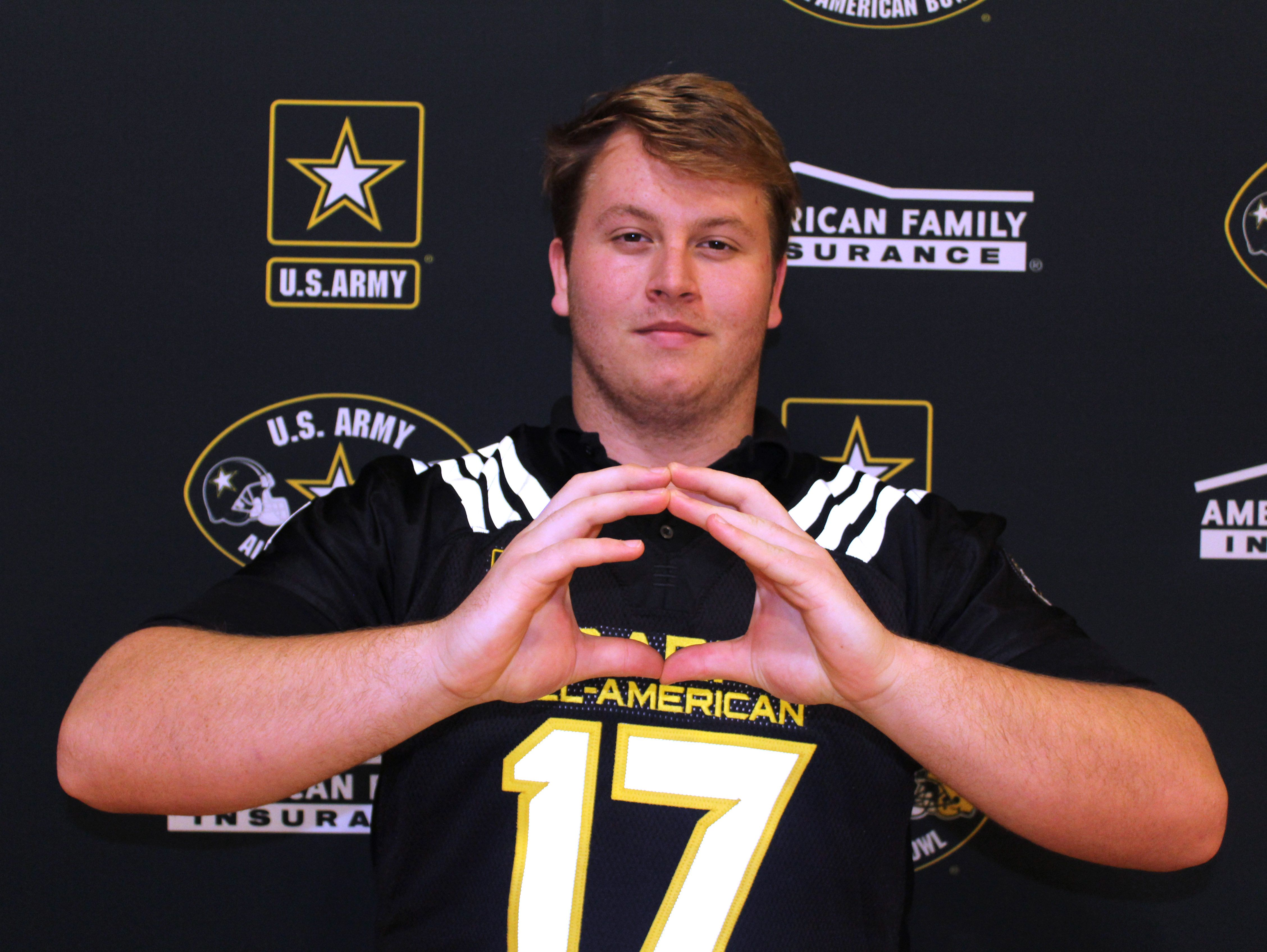 Rutger Reitmaier, a Lipscomb Academy senior, received an honorary U.S. Army All-American Bowl on Friday. He is an Oregon commitment.