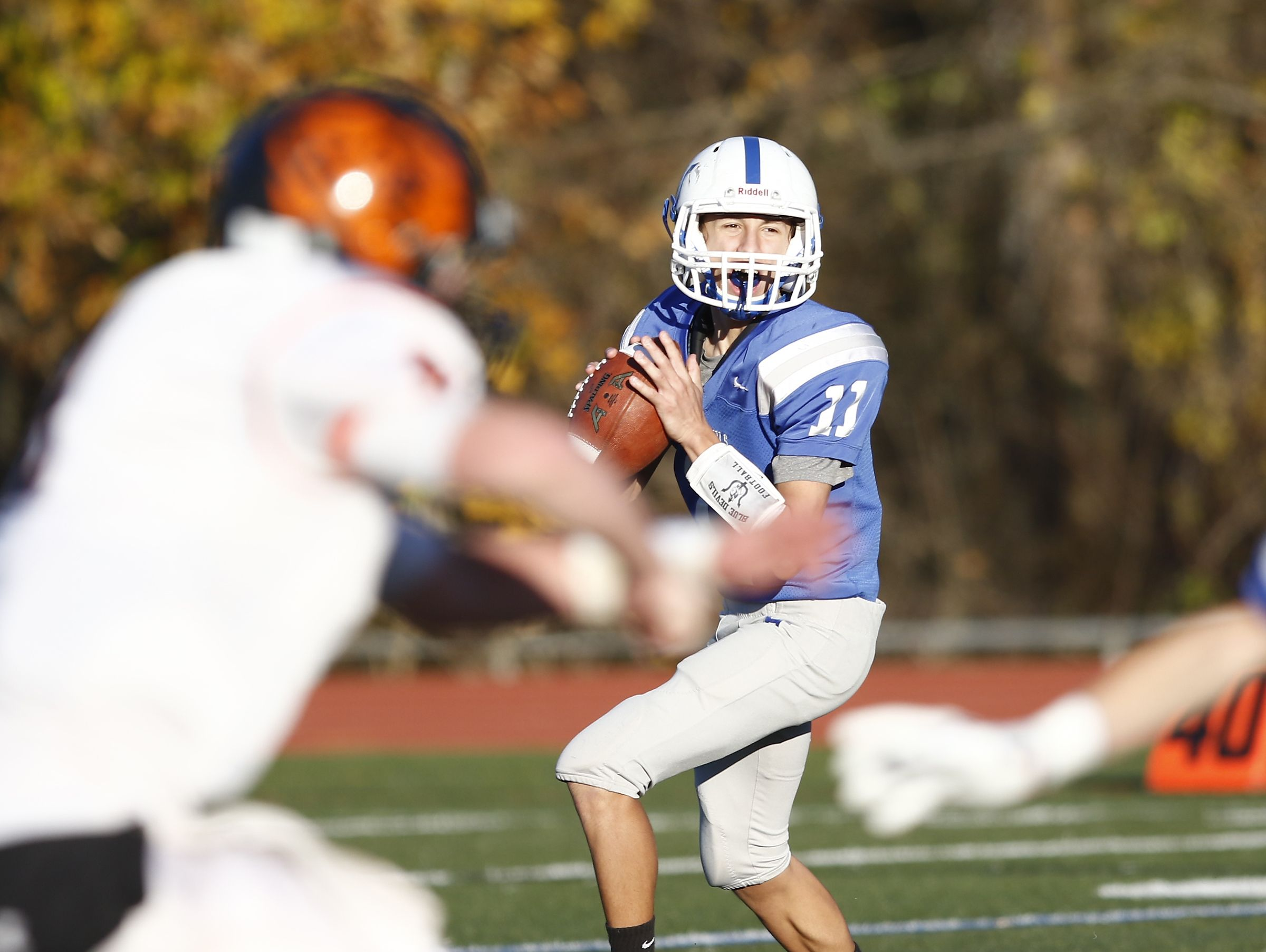 Haldane's Luke Junjulas (11) looks for a pass during their 26-6 win over Tuckahoe 26-6 in the Section 1 Class D championship football game at Mahopac High School on Friday, November 4, 2016.