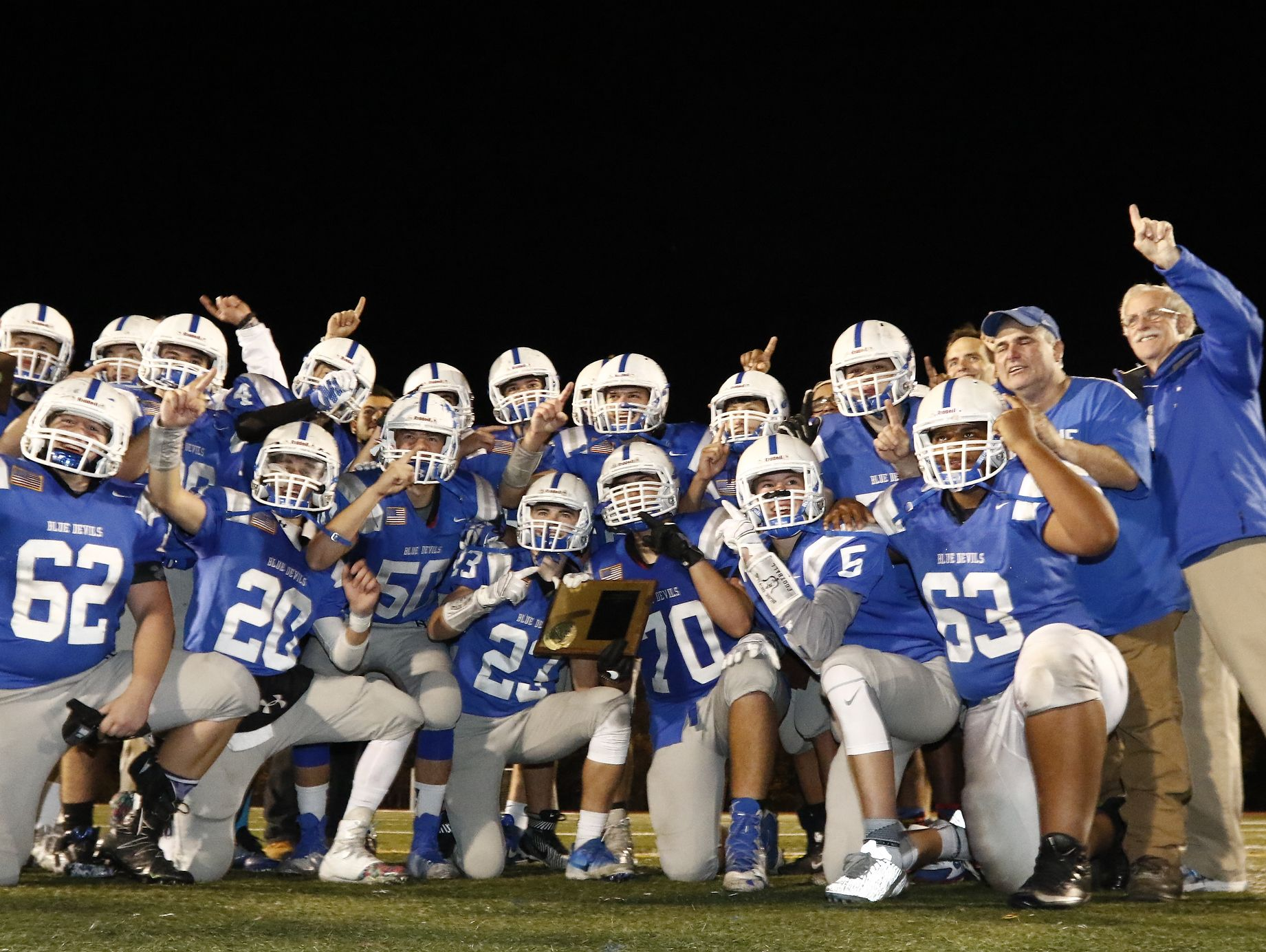 Haldane celebrates their 26-6 win over Tuckahoe in the Section 1 Class D championship football game at Mahopac High School on Friday, November 4, 2016.