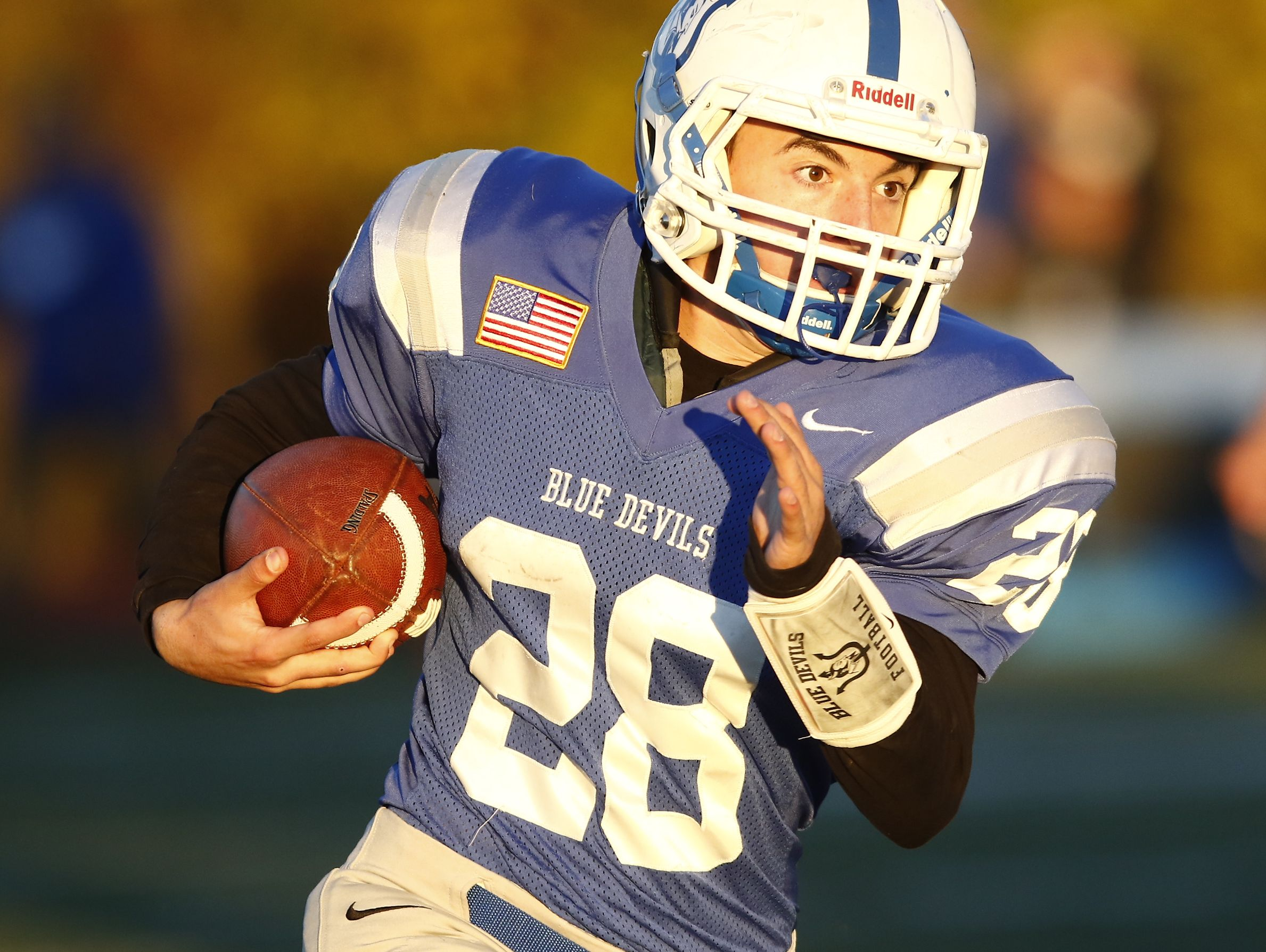 Haldane's Joe Digregorio (28) runs outside during their 26-6 win over Tuckahoe in the Section 1 Class D championship football game at Mahopac High School on Friday, November 4, 2016.