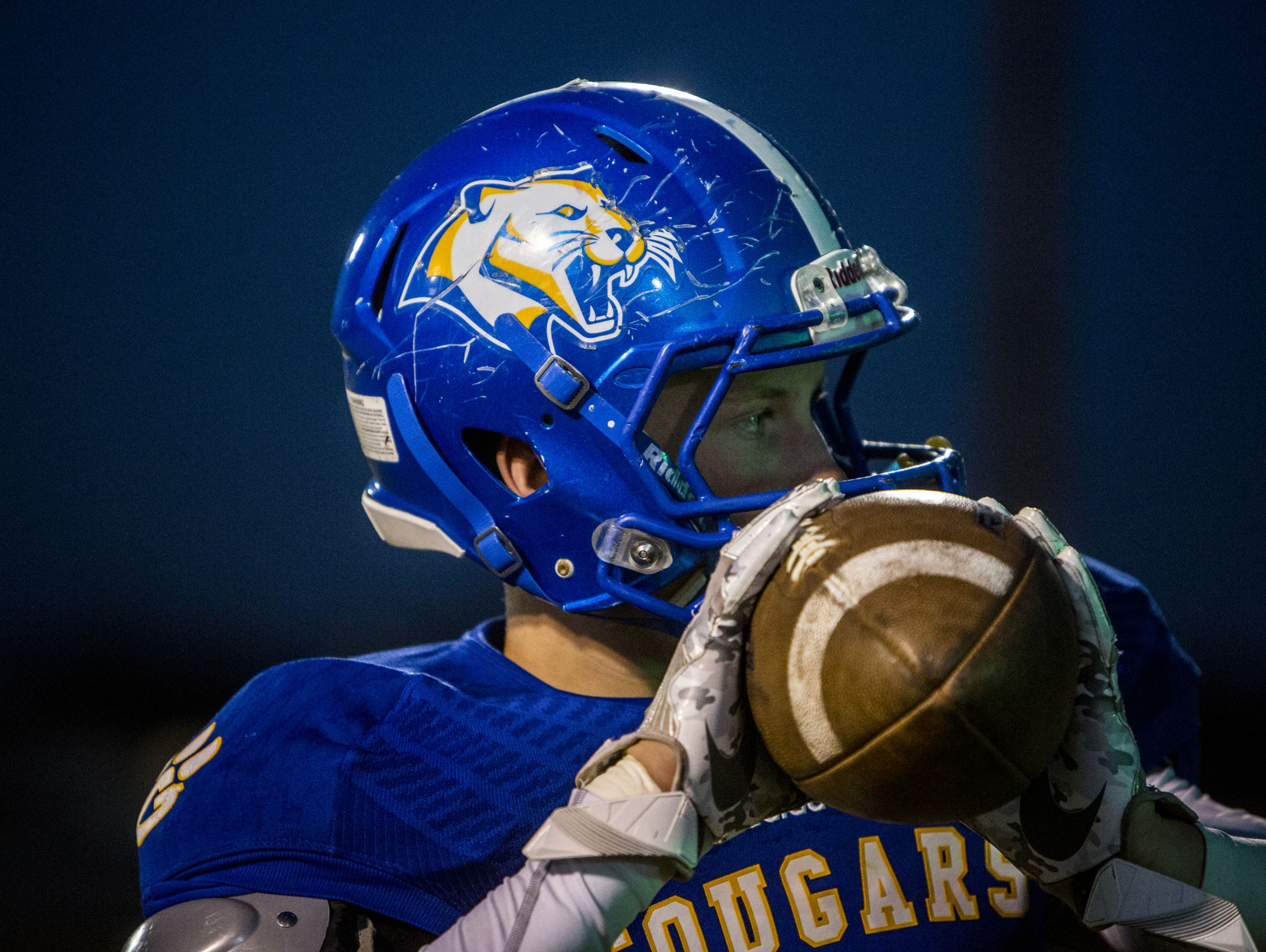 Goodpasture Christian School player Gabe Corley warms up before the game against Harpeth High School.