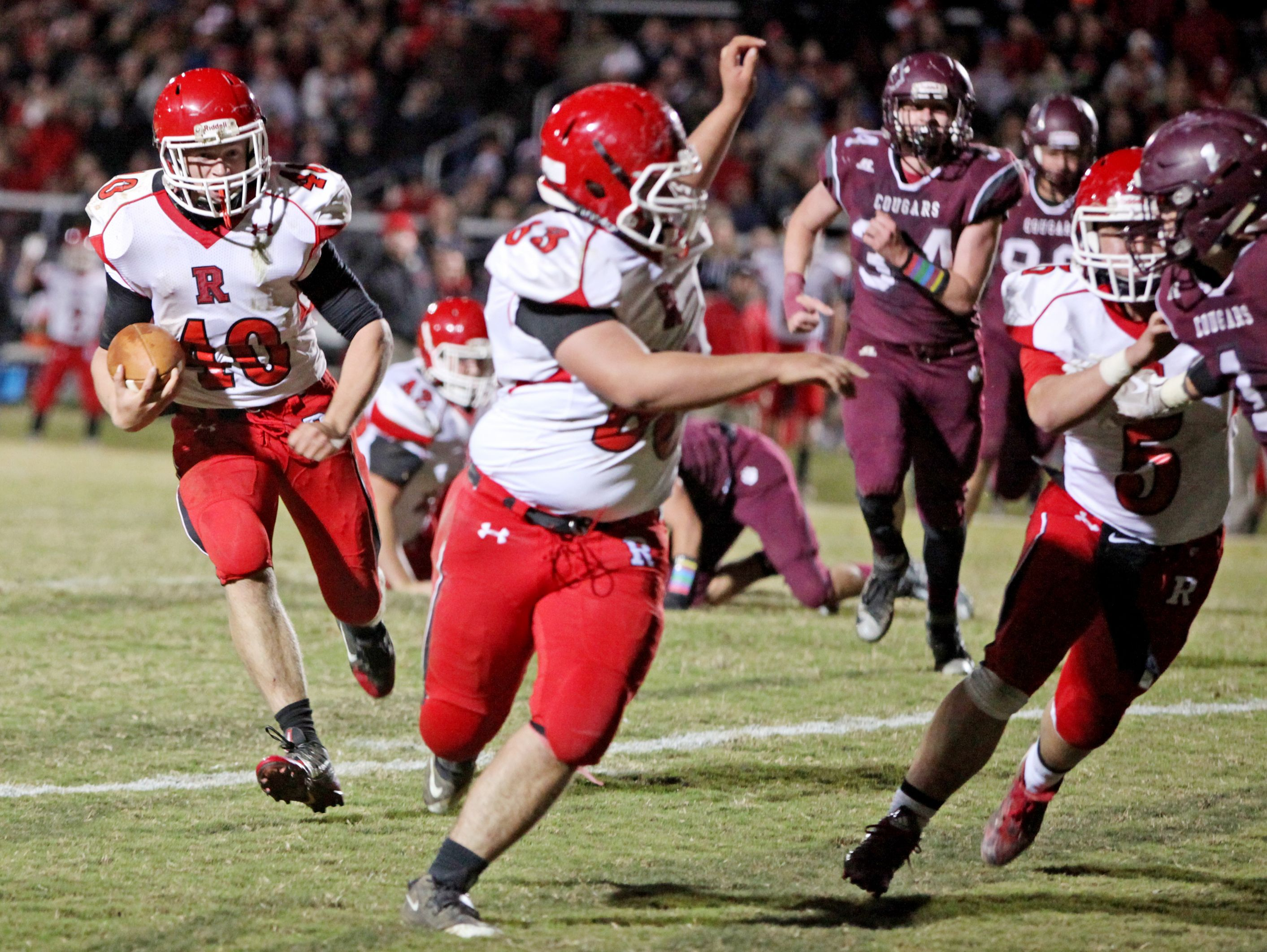 Riverheads' Harrison Schaefer runs the ball for a touchdown in the second quarter of the game on Friday, Nov. 4, 2016 at Stuarts Draft.