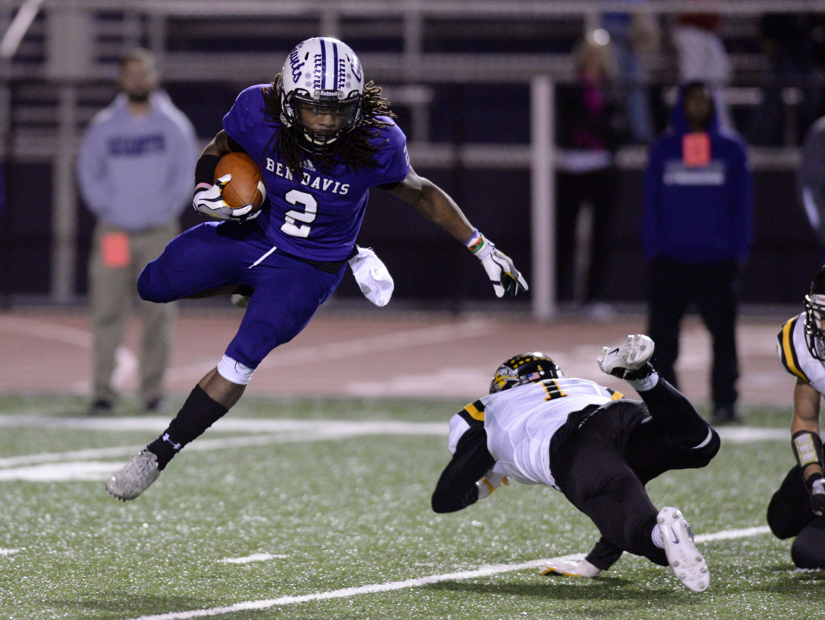 Ben Davis DB Rondell Allen makes a play in the secondary against Avon on Friday night.