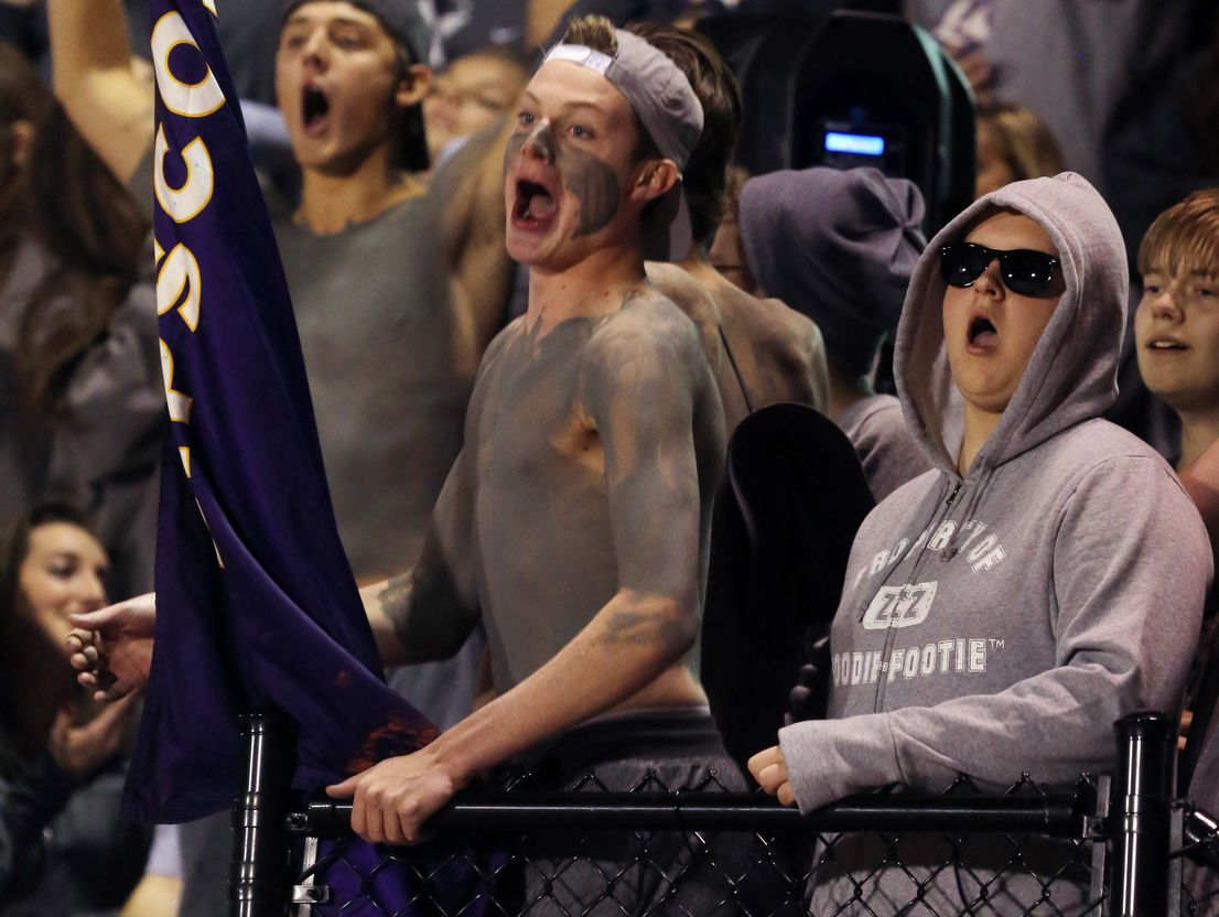 Lipscomb Academy fans cheer for their team during their playoff game against Springfield at Lipscomb Academy Friday November 4, 2016.