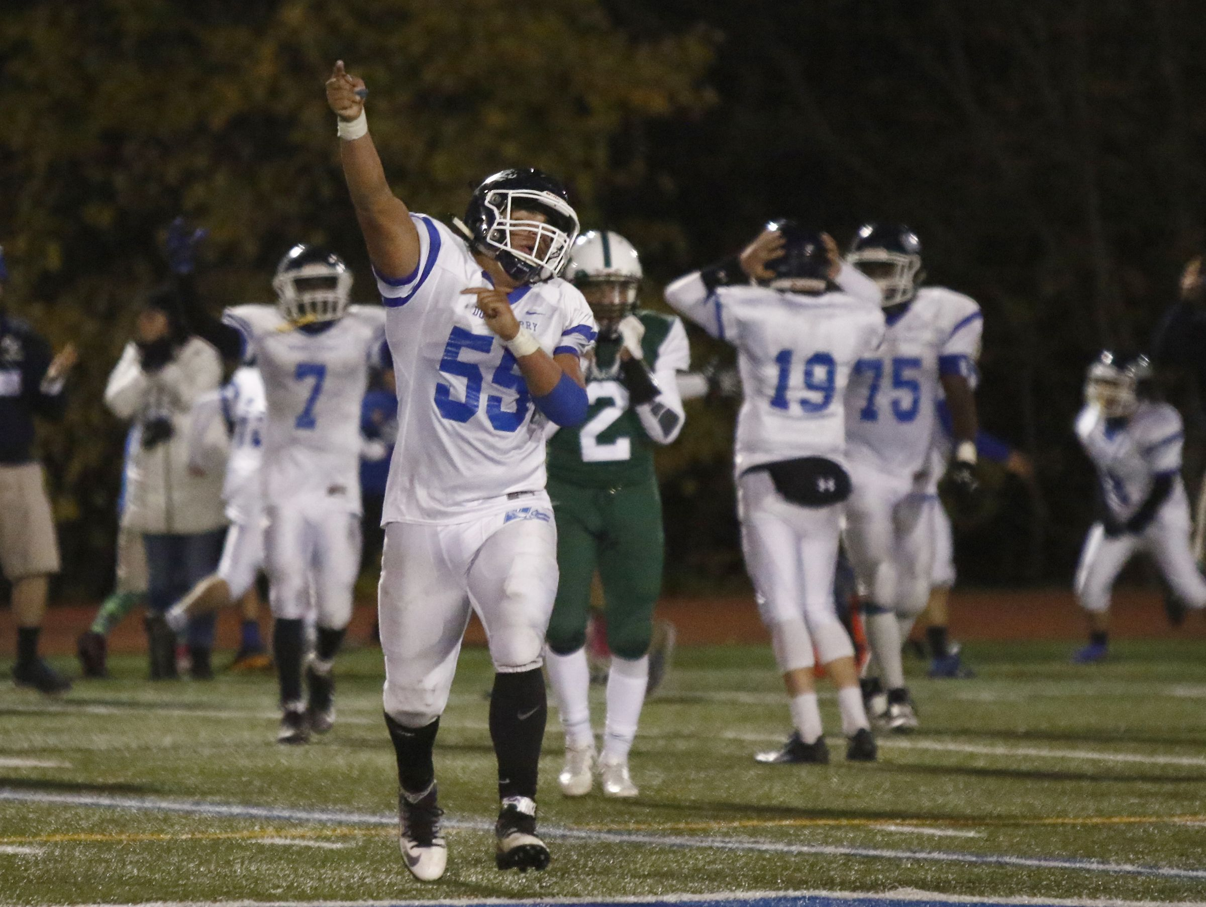 Dobbs Ferry's Jordan Loran (55) reacts after a turnover in the Eagles' 21-14 win over Woodlands in the Section 1 Class C championship game at Mahopac High School on Friday.