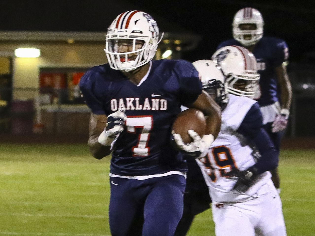 Jacoby Stevens scores one of Oakland's many first half touchdowns again Blount County.