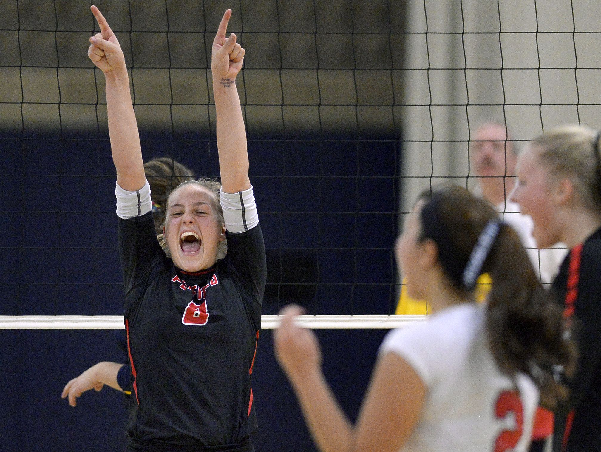 Penfield's Alea Steigerwald celebrates a point during the Section V Class AA final at Gates Chili High School on Nov. 4, 2016.