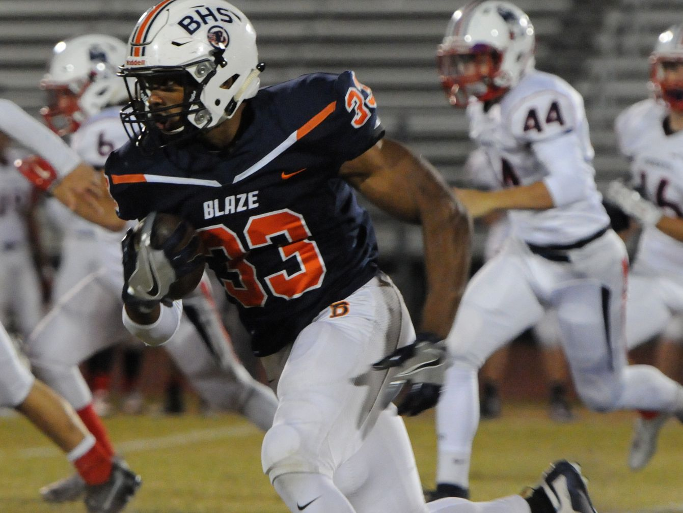 Blackman's Master Teague finds an opening on a kickoff return (he ran 28 times for 325 yards and 3 TDs) on Friday, November 4, 2016.