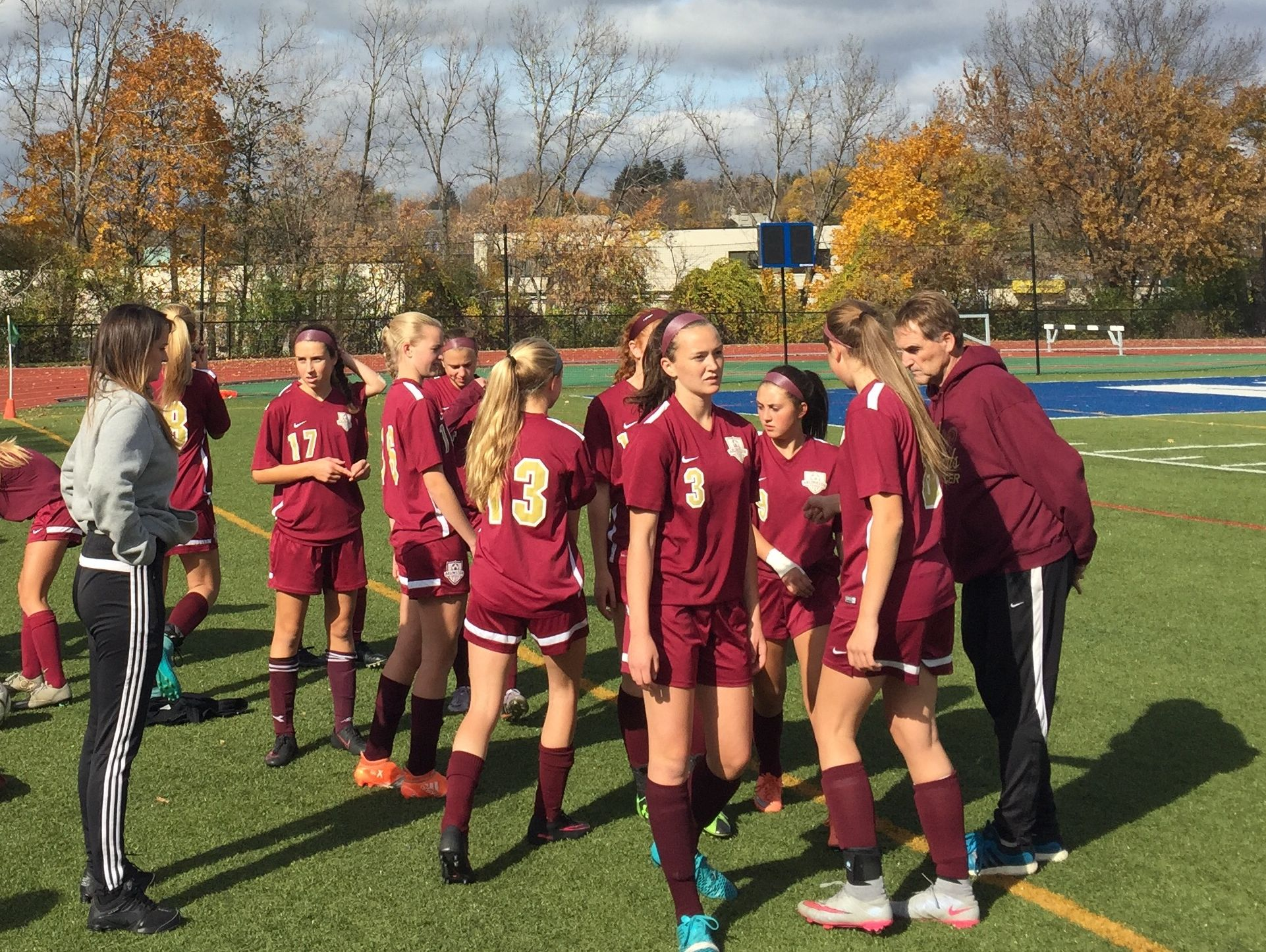 The Arlington girls soccer team readies to take the field for the Class AA regional final.