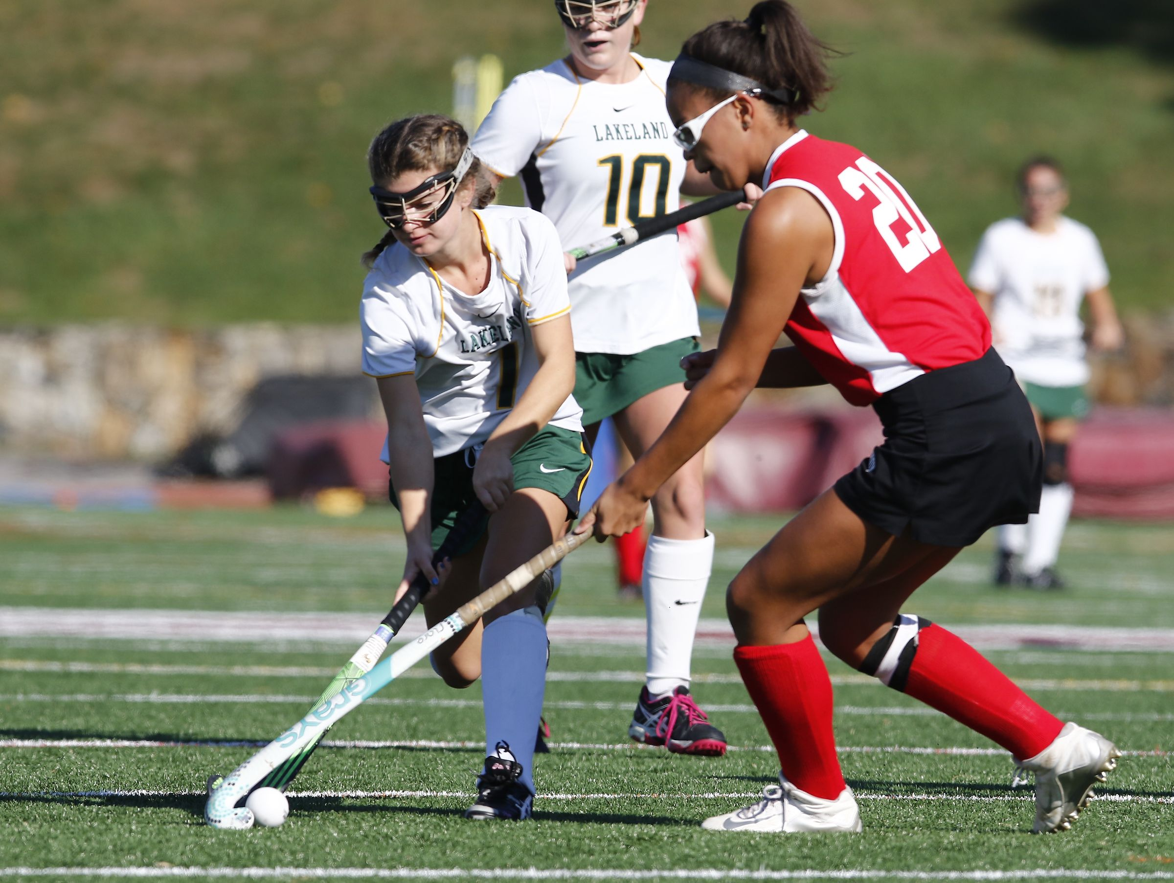 Lakeland's Cali Cortese (1) works the ball during their 8-0 win over Red Hook in the Class B regional championship field hockey game at Valhalla High School on Saturday, November 5, 2016.