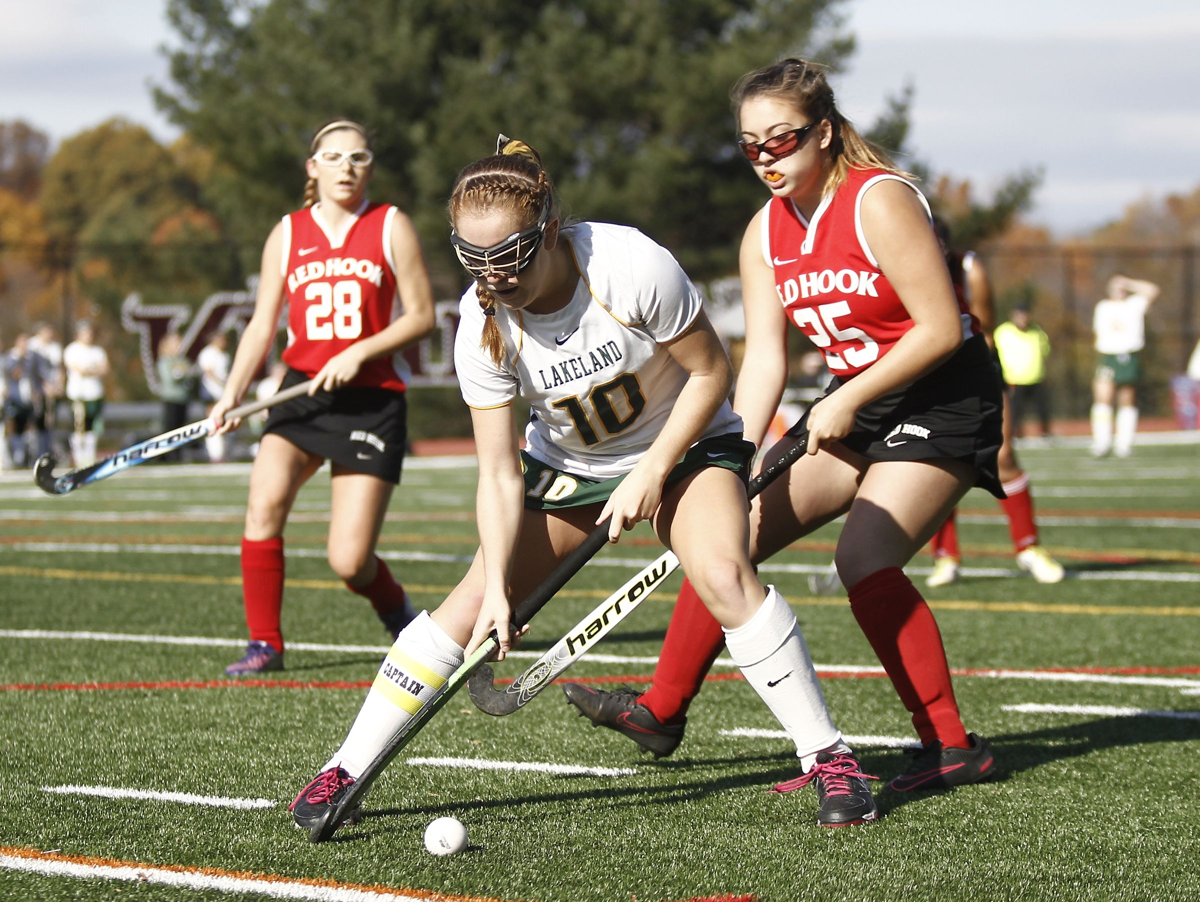 Lakeland's Meghan Fahey (10) controls the ball near the end-line during their 8-0 win over Red Hook in the Class B regional championship field hockey game at Valhalla High School on Saturday, November 5, 2016.