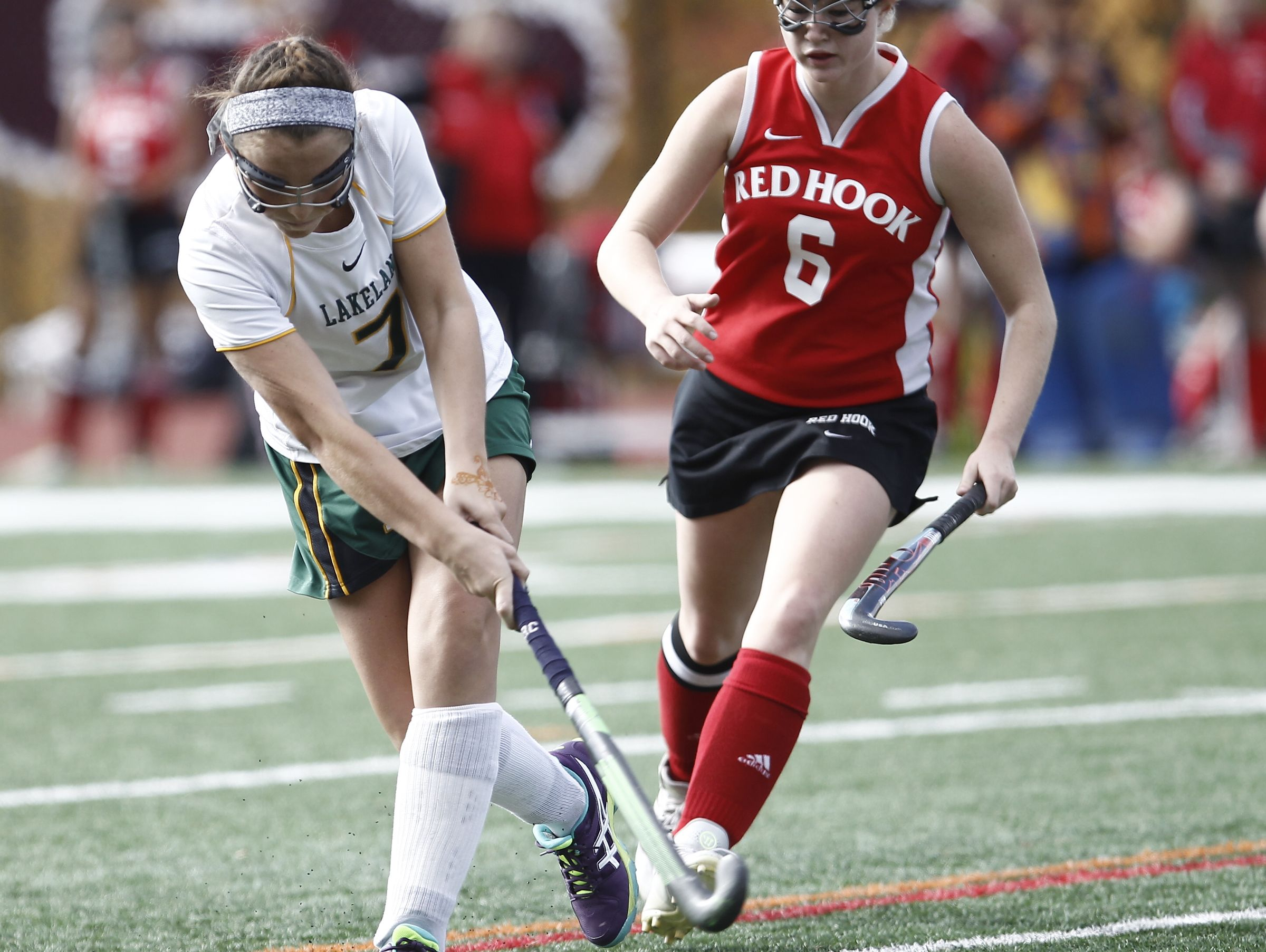 Lakeland's Caroline Cahill (7) takes a shot on goal during their 8-0 win over Red Hook in the Class B regional championship field hockey game at Valhalla High School on Saturday, November 5, 2016.