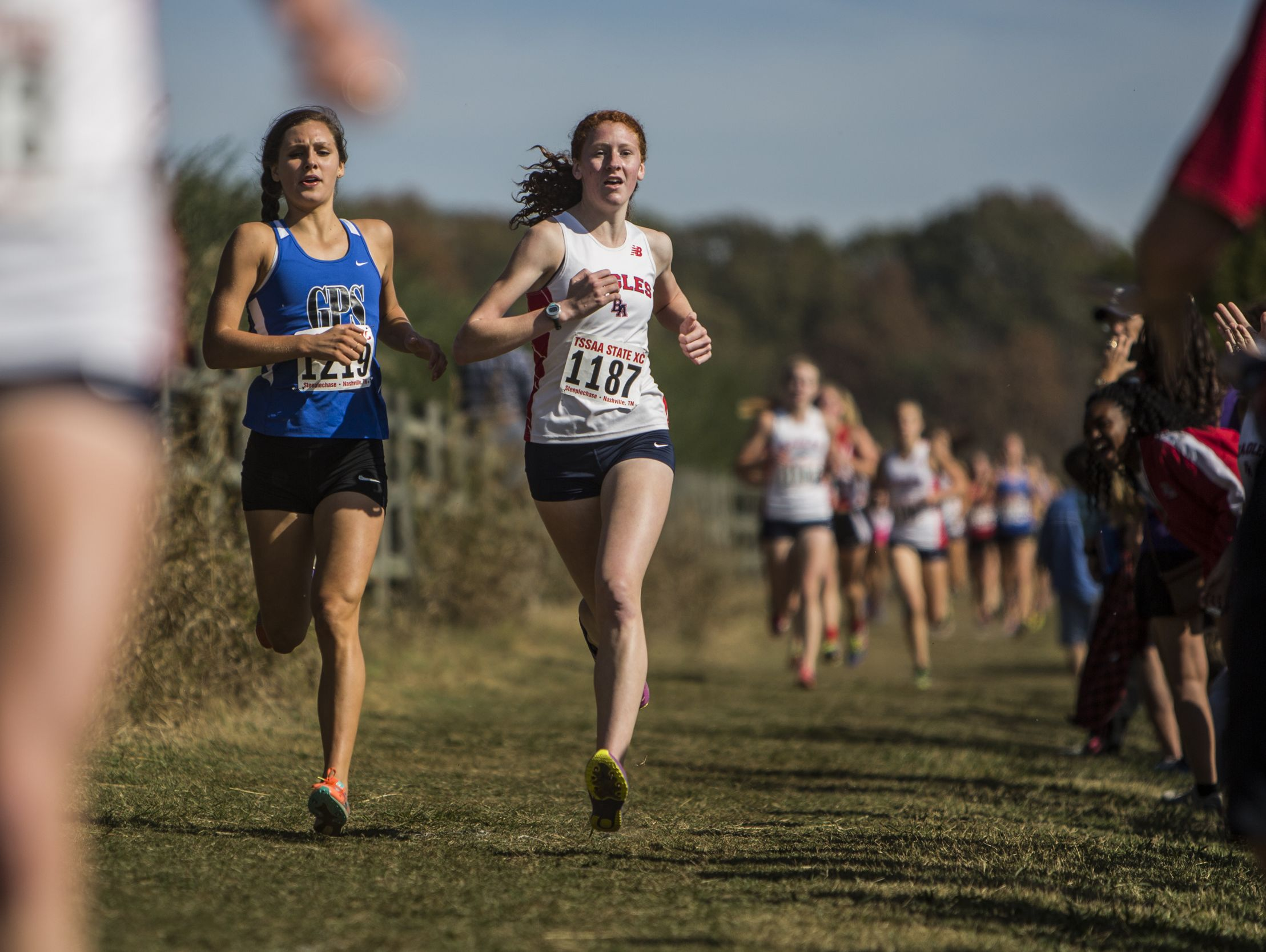 Carley Braman of GPS and Meredith Helton of Brentwood Academy run during the 2016 TSSAA State Cross Country Championship at Percy Warner Park.