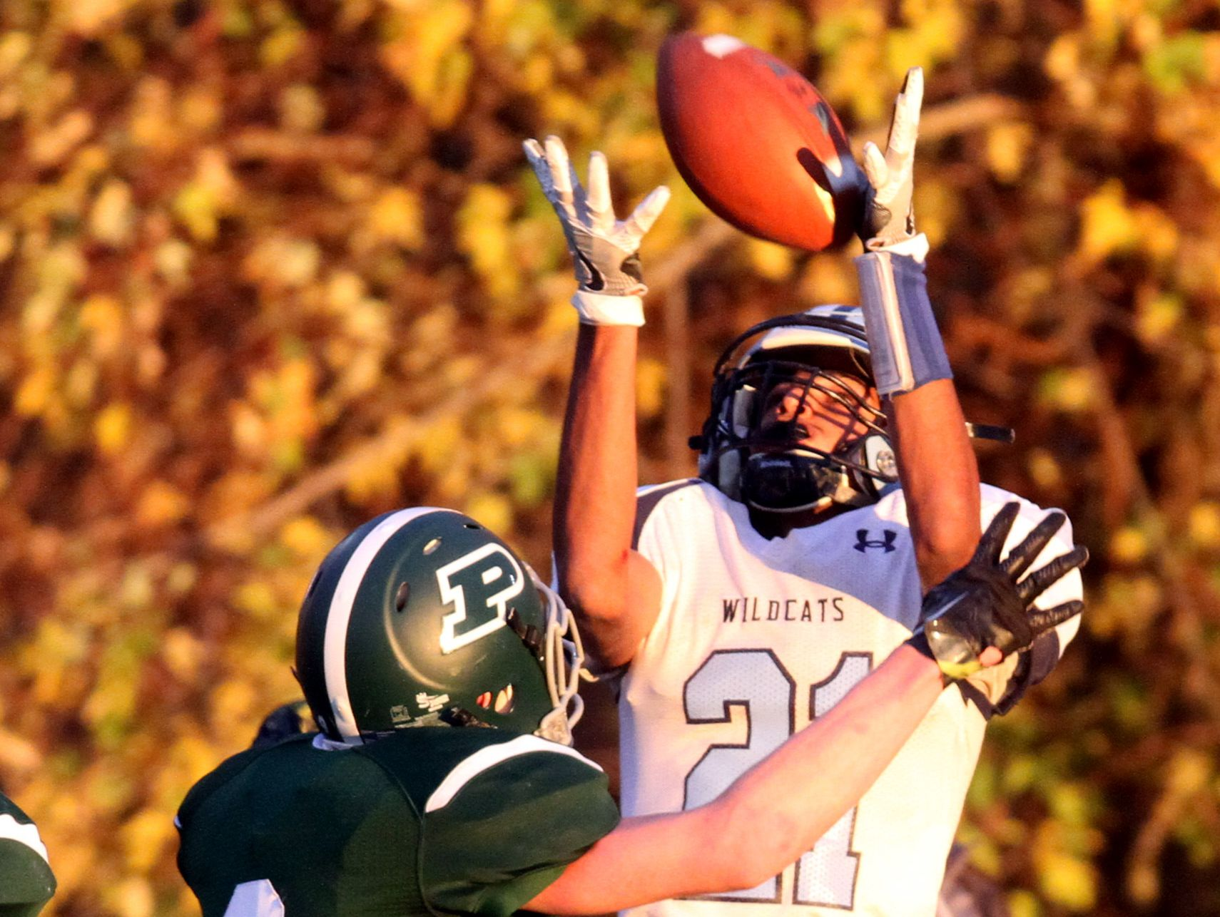 Westlake's Haseeb Azhar couldn't hold on the pass while being defended by Pleasantville's Jake Farrelly during the Section 1 Class B football championship at Mahopac High School Nov. 6, 2016. Pleasantville defeated Westlake 28-21.