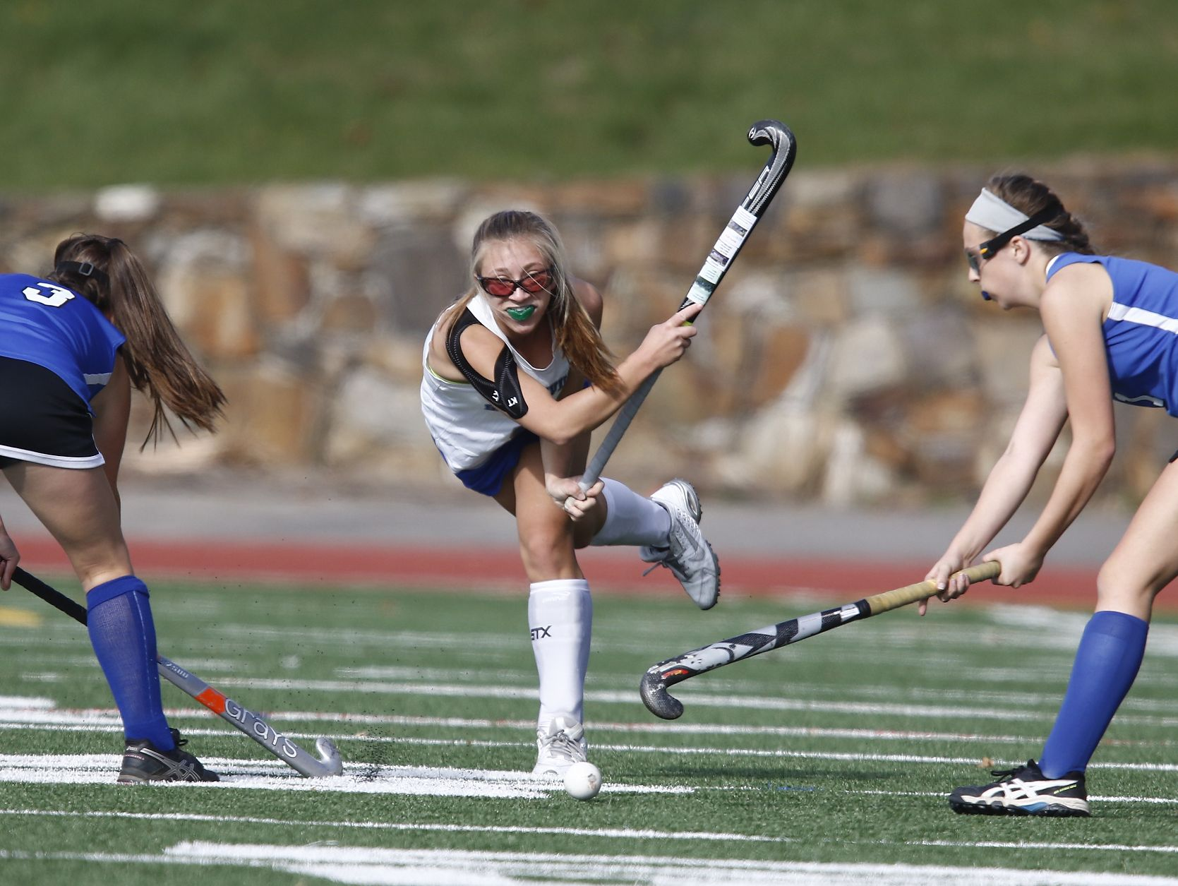Bronxville's Sophie Kohloff (9) fires a pass through the Roundout Valley defense during their 2-0 win in the Class C regional championship field hockey game at Valhalla High School on Saturday, November 5, 2016.