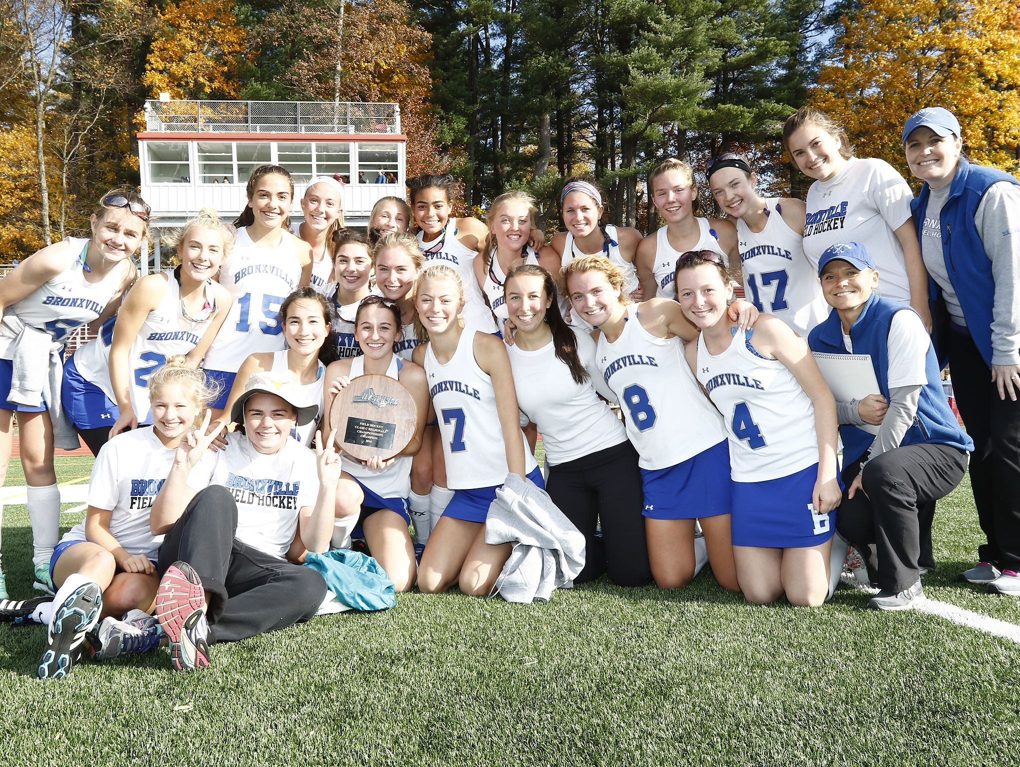 Bronxville celebrates their 2-0 win over Roundout Valley in the Class C regional championship field hockey game at Valhalla High School on Saturday, November 5, 2016.