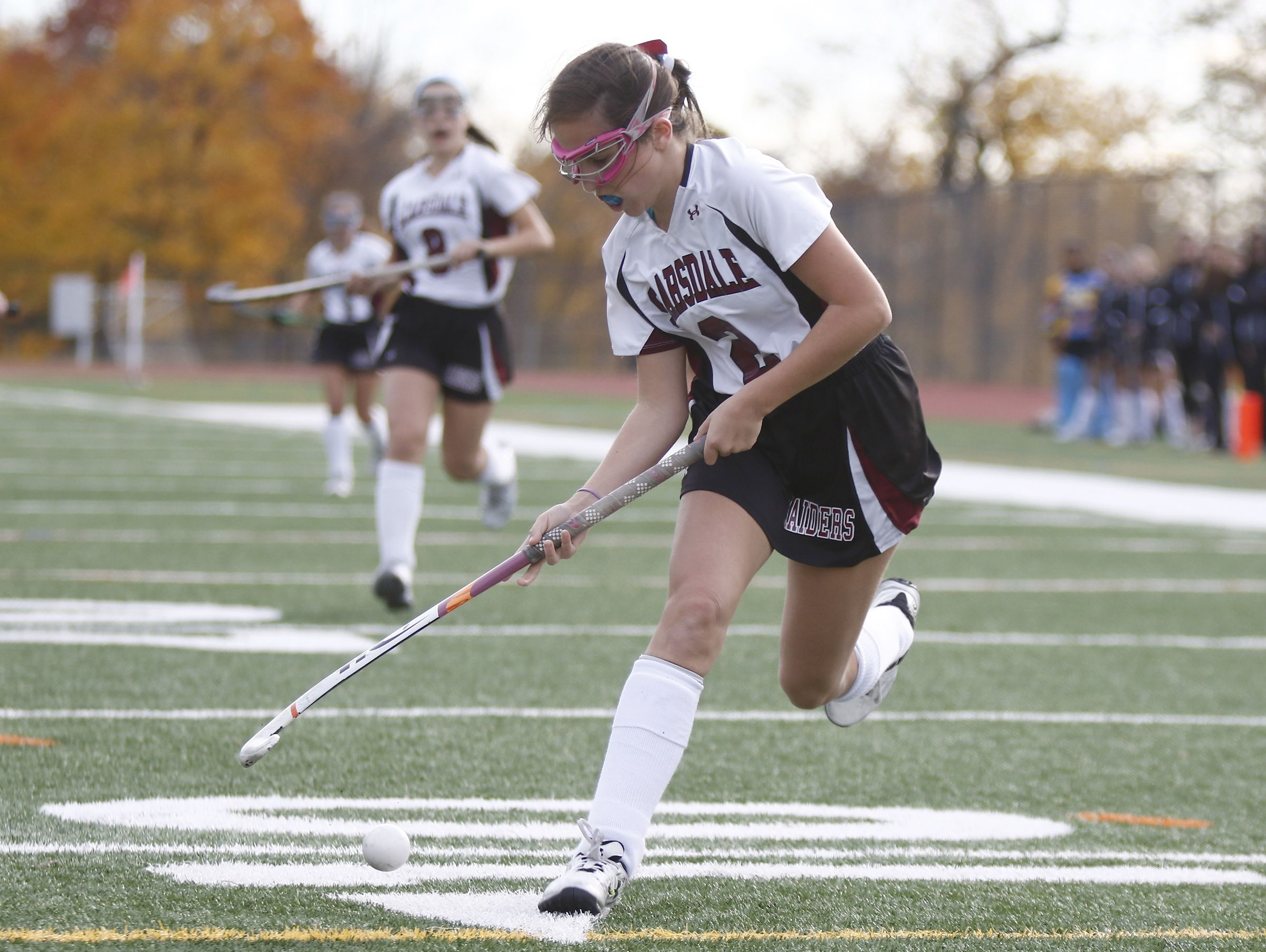 Scarsdale's Elizabeth Scarcella (2) controls the ball during their 5-0 win in the Class A regional championship field hockey game at Valhalla High School on Saturday, November 5, 2016.