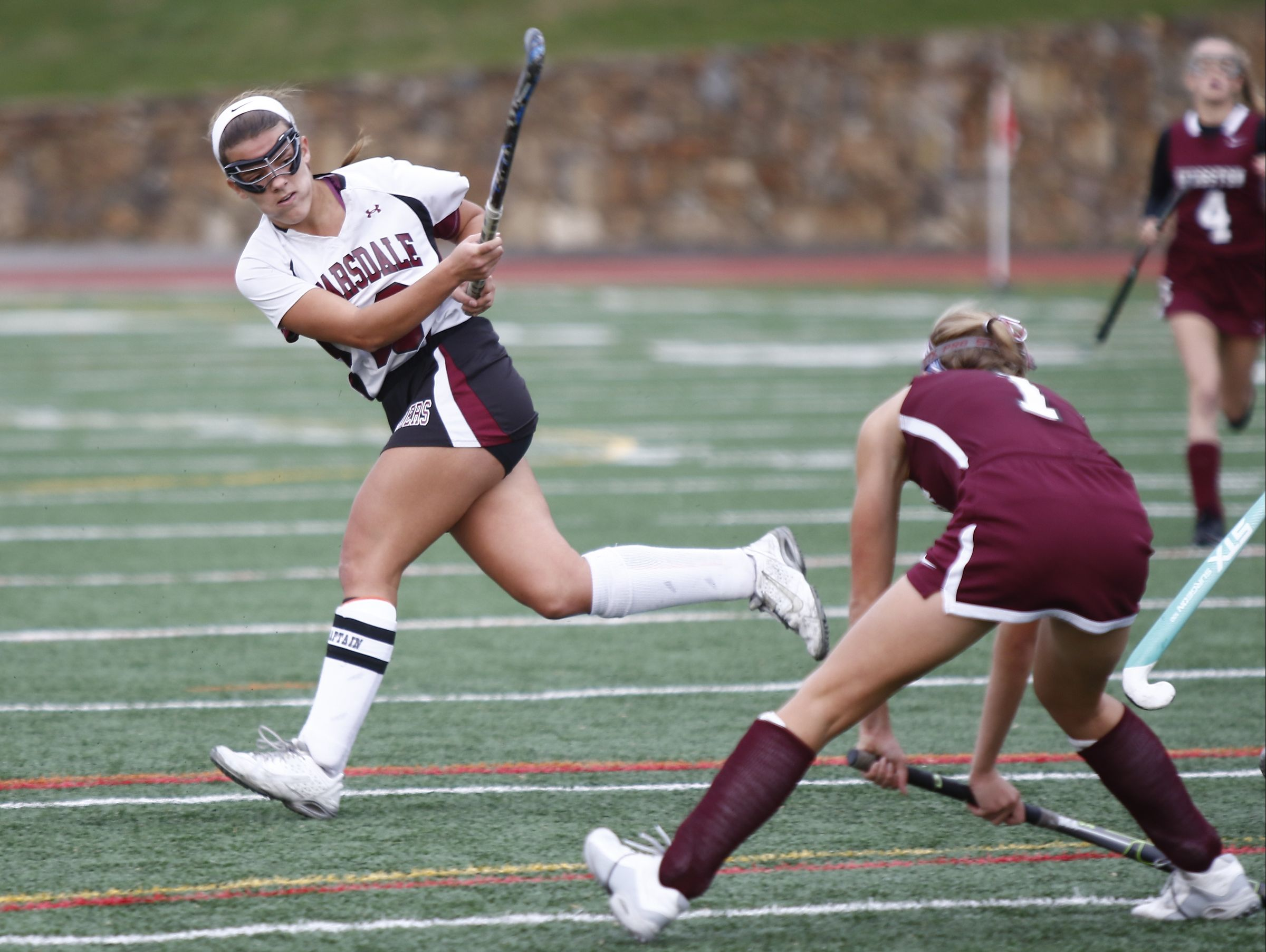Scarsdale's Erin Nicholas (16) takes a shot on goal during their 5-0 win in the Class A regional championship field hockey game at Valhalla High School on Saturday, November 5, 2016.