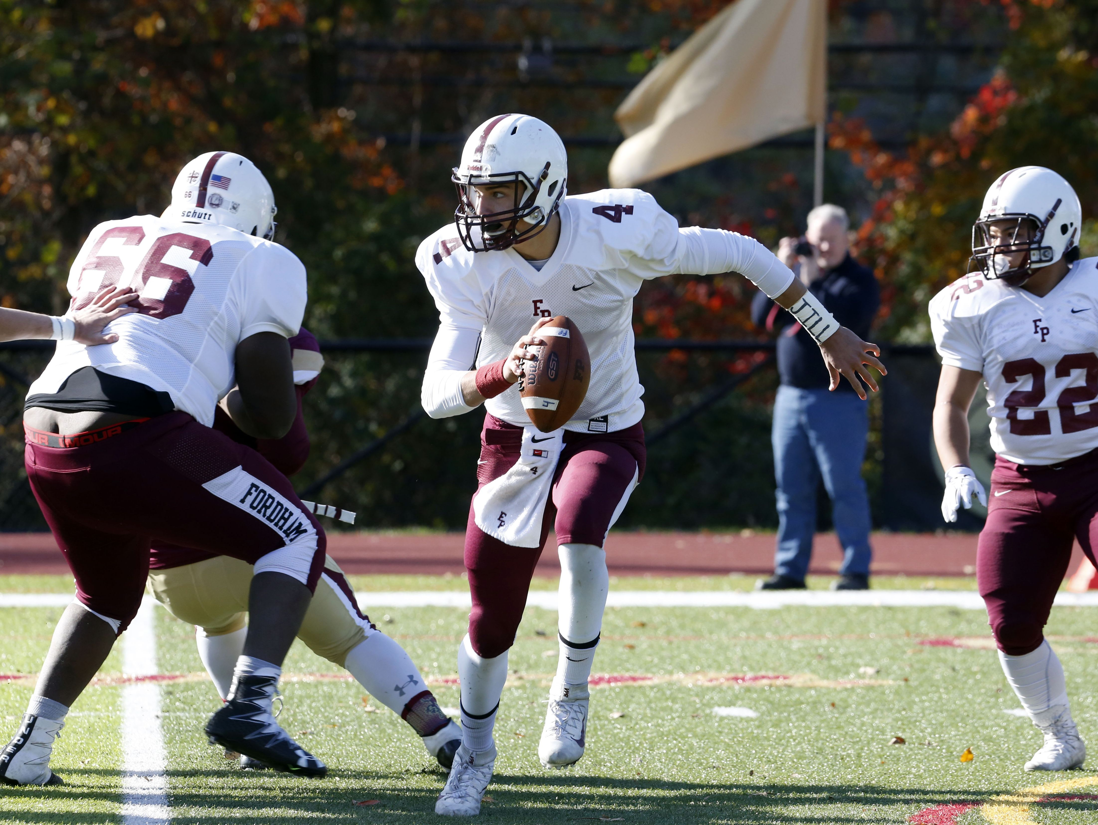 Fordham Prep quarterback Matt Valecce in action against Iona Prep in the quarterfinals of the Catholic High School Football League Nov. 6, 2016 at Iona Prep in New Rochelle. Iona Prep won, 41-0.
