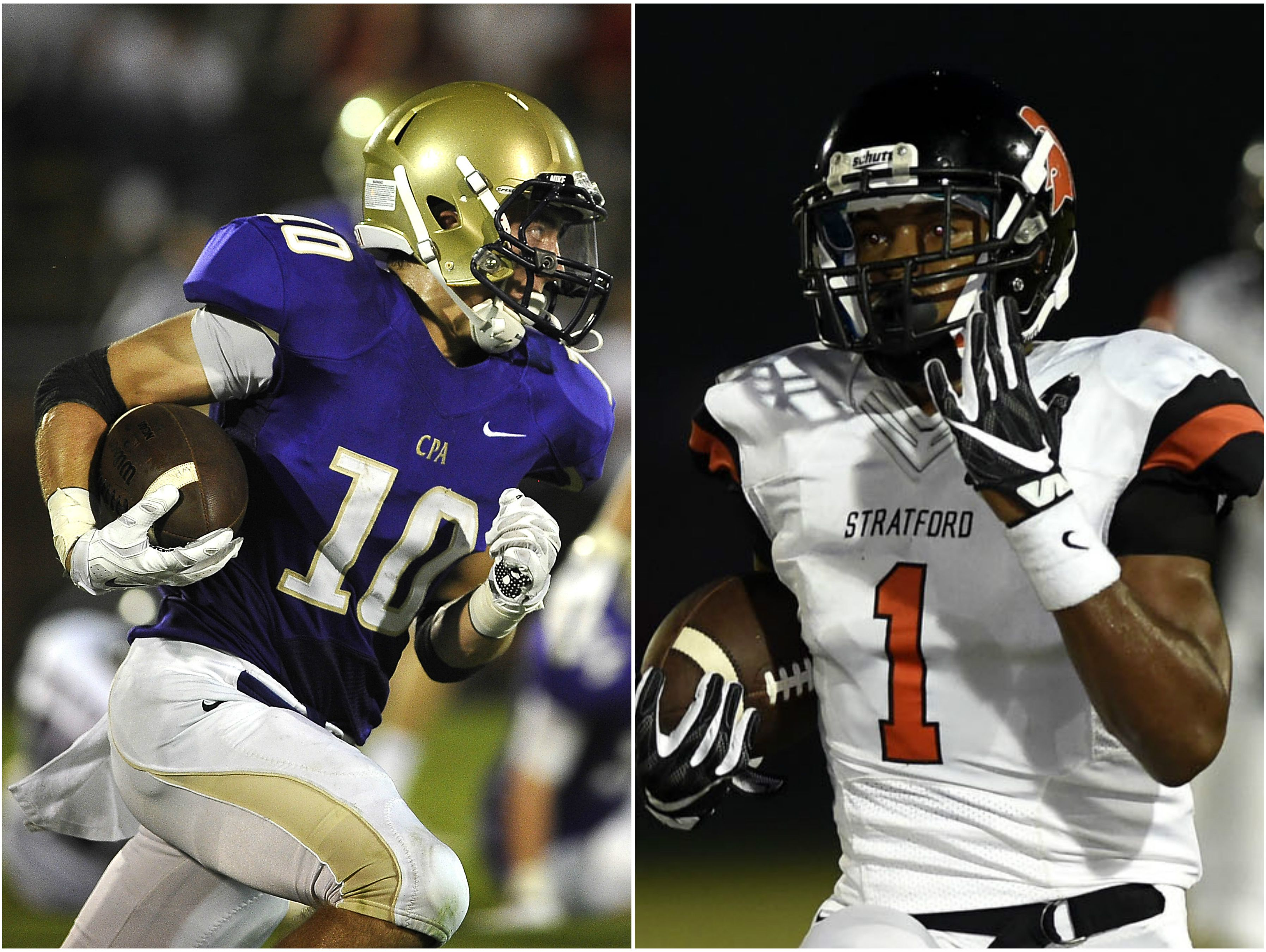 CPA receiver Andrew Howard (left) and Stratford running back T.J. Carter (right)