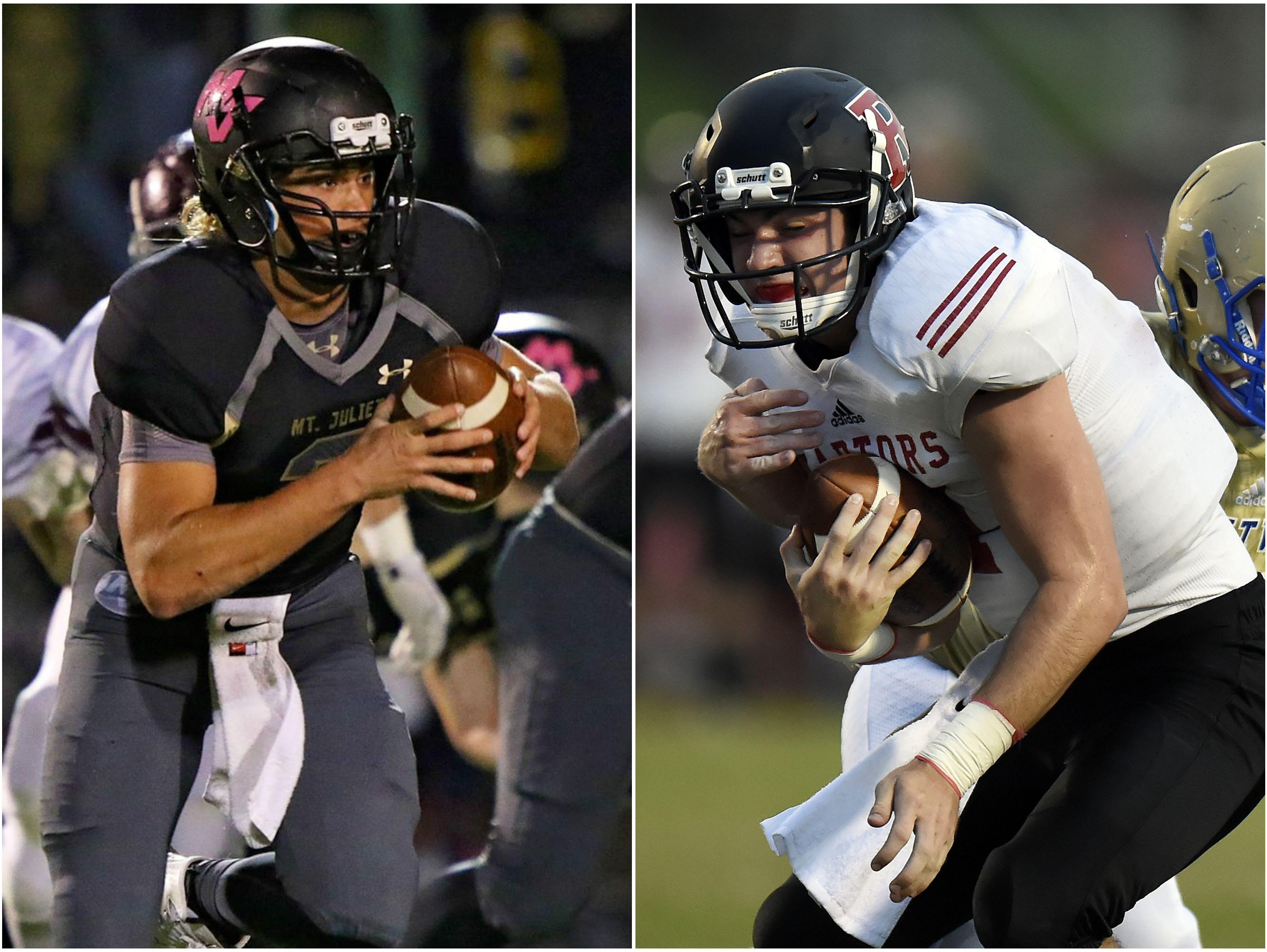 Mt. Juliet quarterback Mason Earls (left) and Ravenwood quarterback McCain Marrow (right)