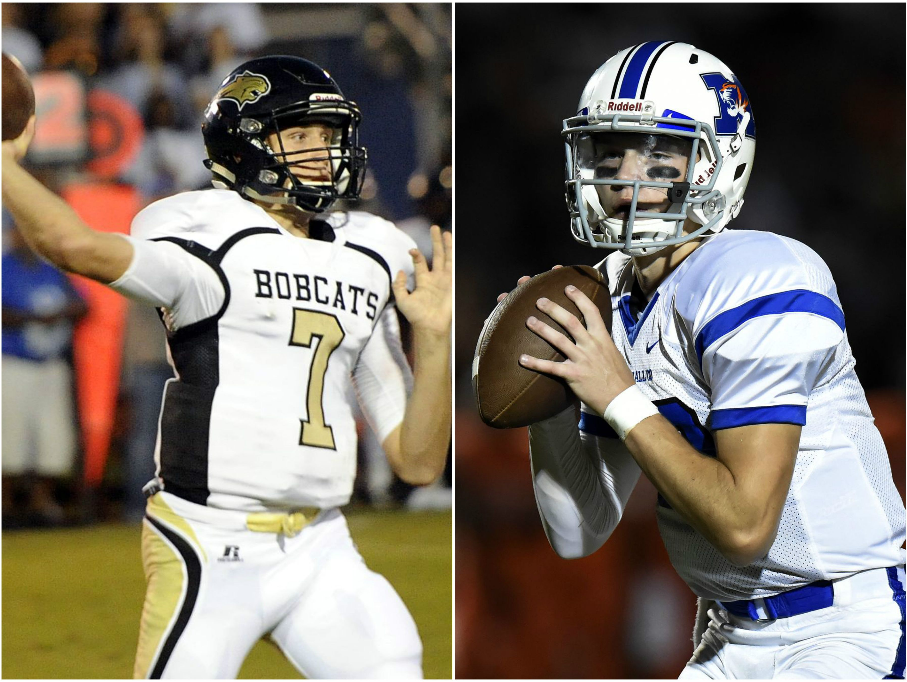 Giles County quarterback John Bachus (left) and Marshall County quarterback Bryce Wallace (right)