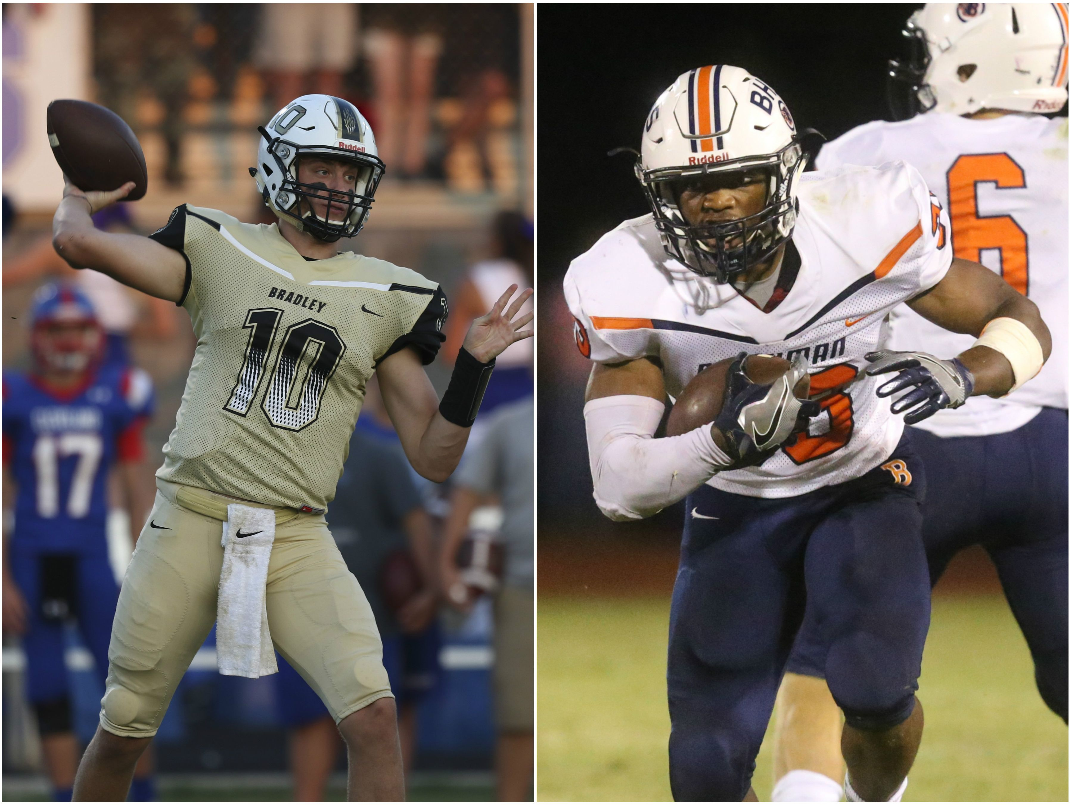 Bradley Central quarterback Cole Copeland (left) and Blackman running back Master Teague (right)