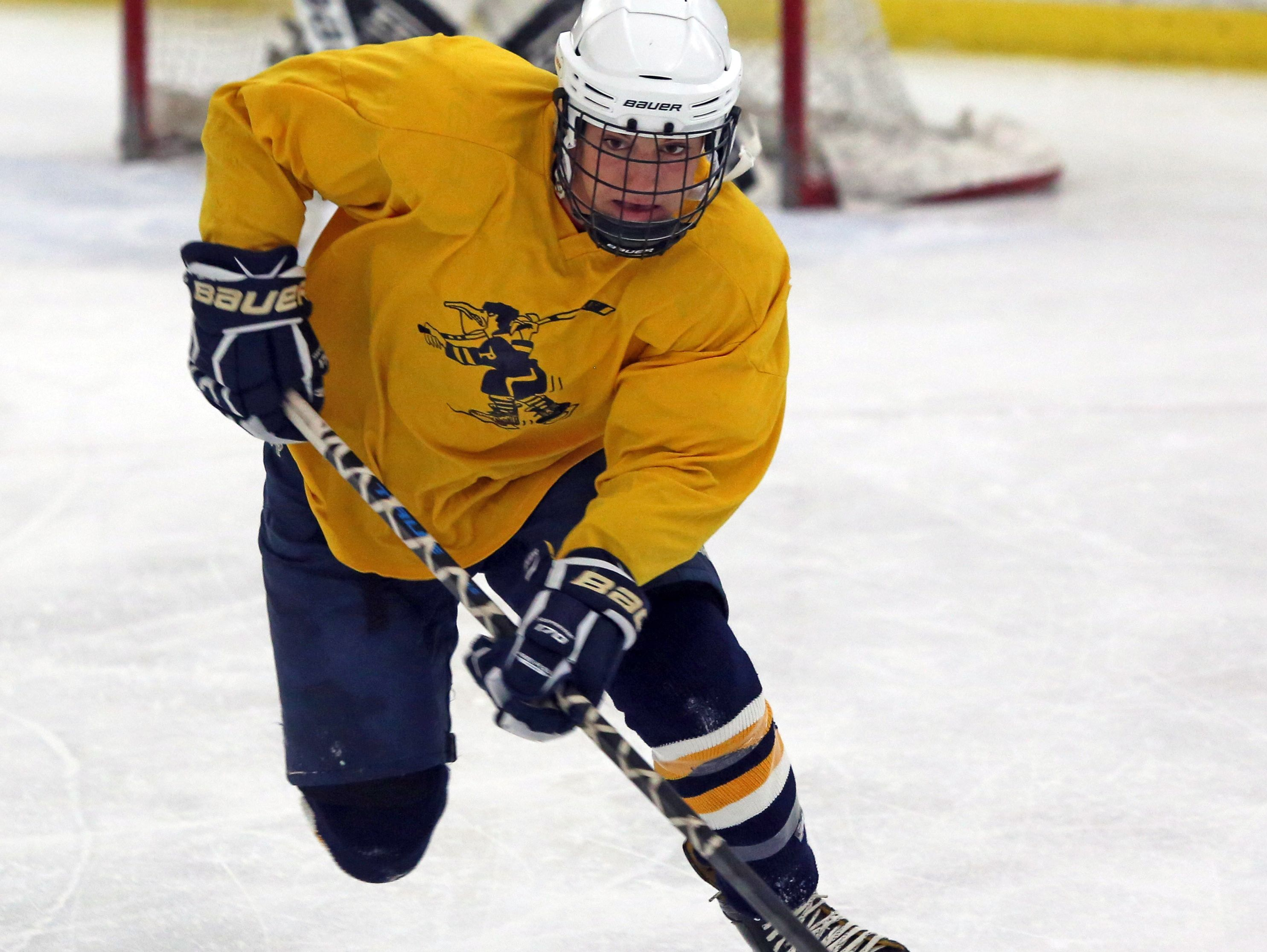 Russell Mazzano during the first day of practice for Pelham hockey team at Ice Hutch in Mount Vernon Nov. 7, 2016.