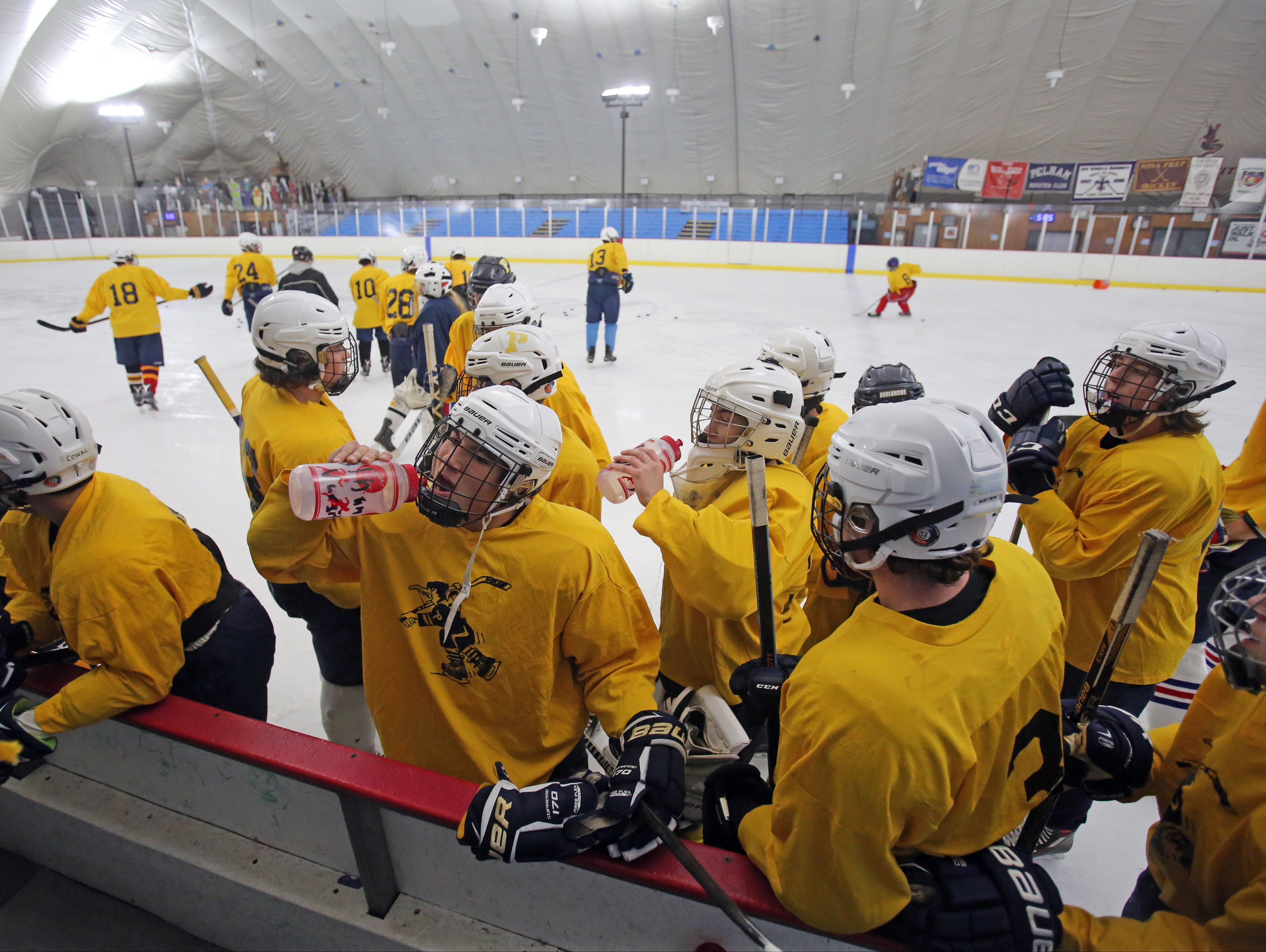 The first day of practice for Pelham hockey team at Ice Hutch in Mount Vernon Nov. 7, 2016.