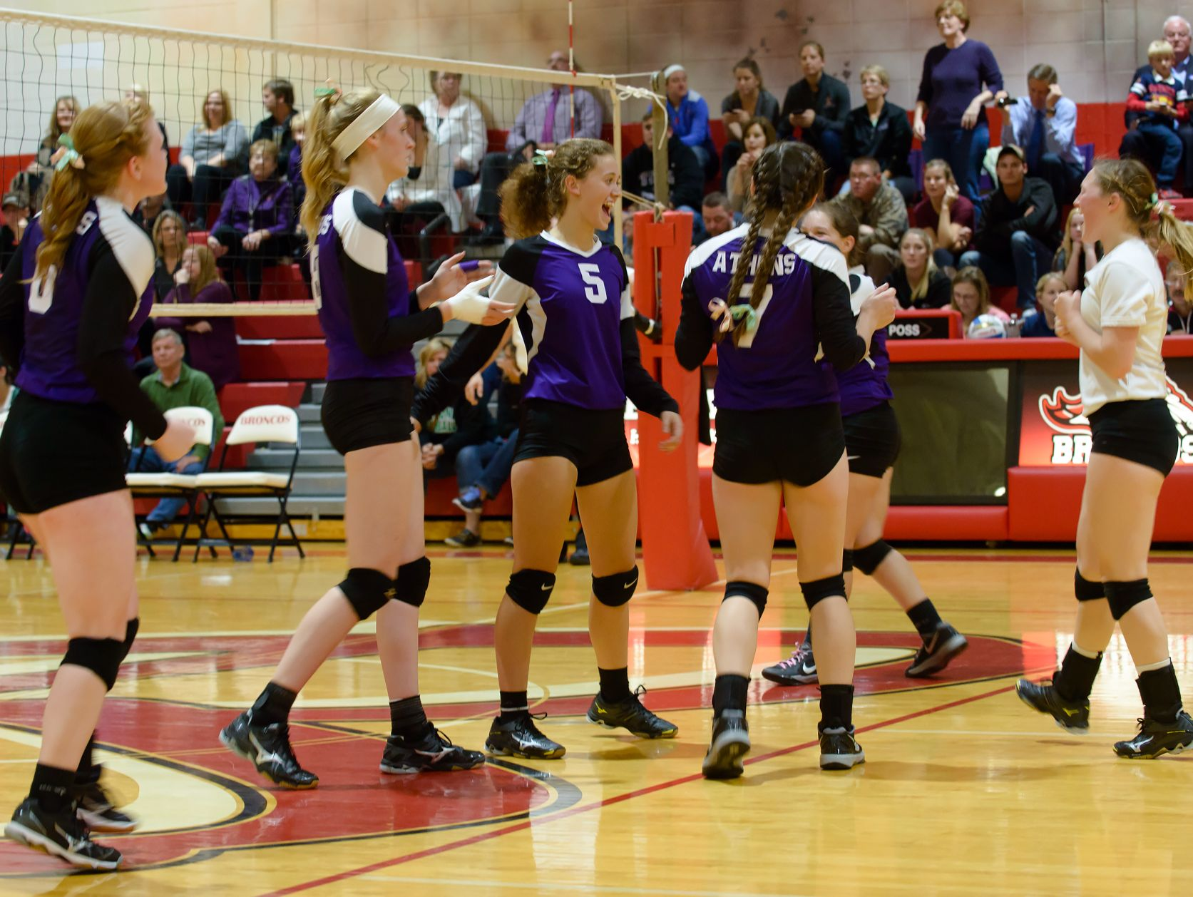 The Athens volleyball team celebrates its Class D regional semifinal victory over St. Joseph Michigan Lutheran on Tuesday night at Bellevue High School.