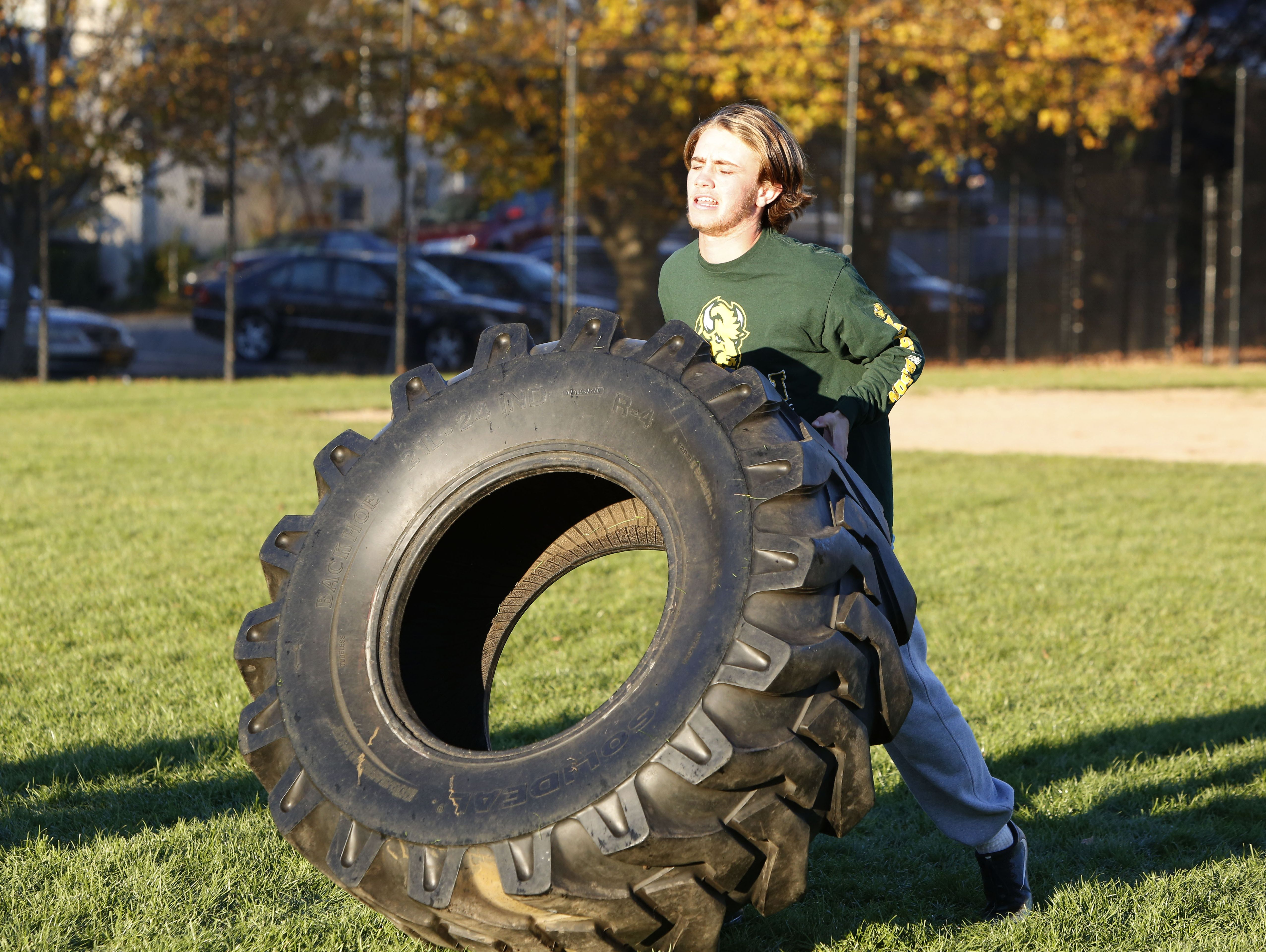 Junior Declan McDermott at football practice Nov. 7, 2016 in Pleasantville. McDermott scored two touchdowns in the Class B championship. The lacrosse star grew up playing football, but didn't join the varsity until this year. He spent the last couple years running cross country because he wanted to be on the team with his older brother.