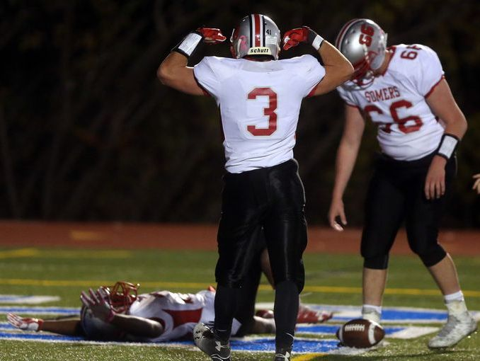 Somers celebrates a touchdown during its 42-6 victory over Yorktown in the Section 1 Class A championship at Mahopac High School on Nov. 5, 2016.