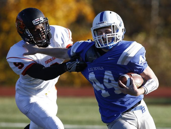 Haldane's Sam Giachinta tries to shed a tackler during his team's 26-6 victory over Tuckahoe in the Class D championship game at Mahopac High School on Nov. 4, 2016.