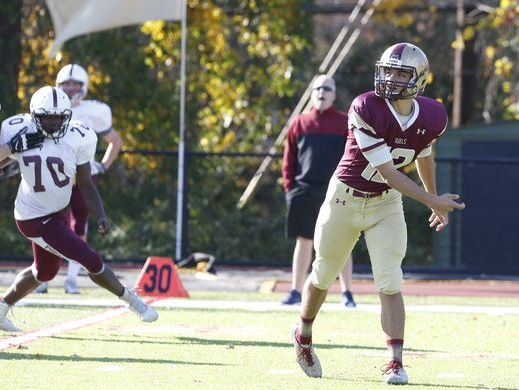 Iona Prep quarterback Mike Apostolopoulos throws a pass during his team's 41-0 victory over Fordham Prep on Nov. 6, 2016.