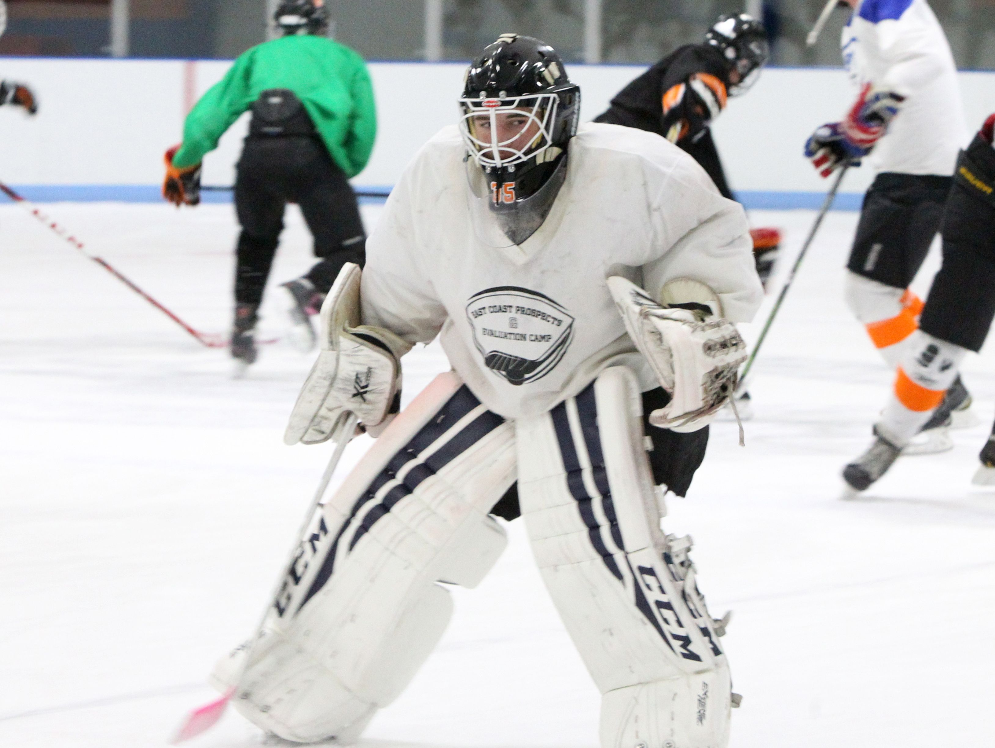 Mamaroneck hockey goalie Tommy Spero during a practice at Hommocks ice rink Nov. 9, 2016.