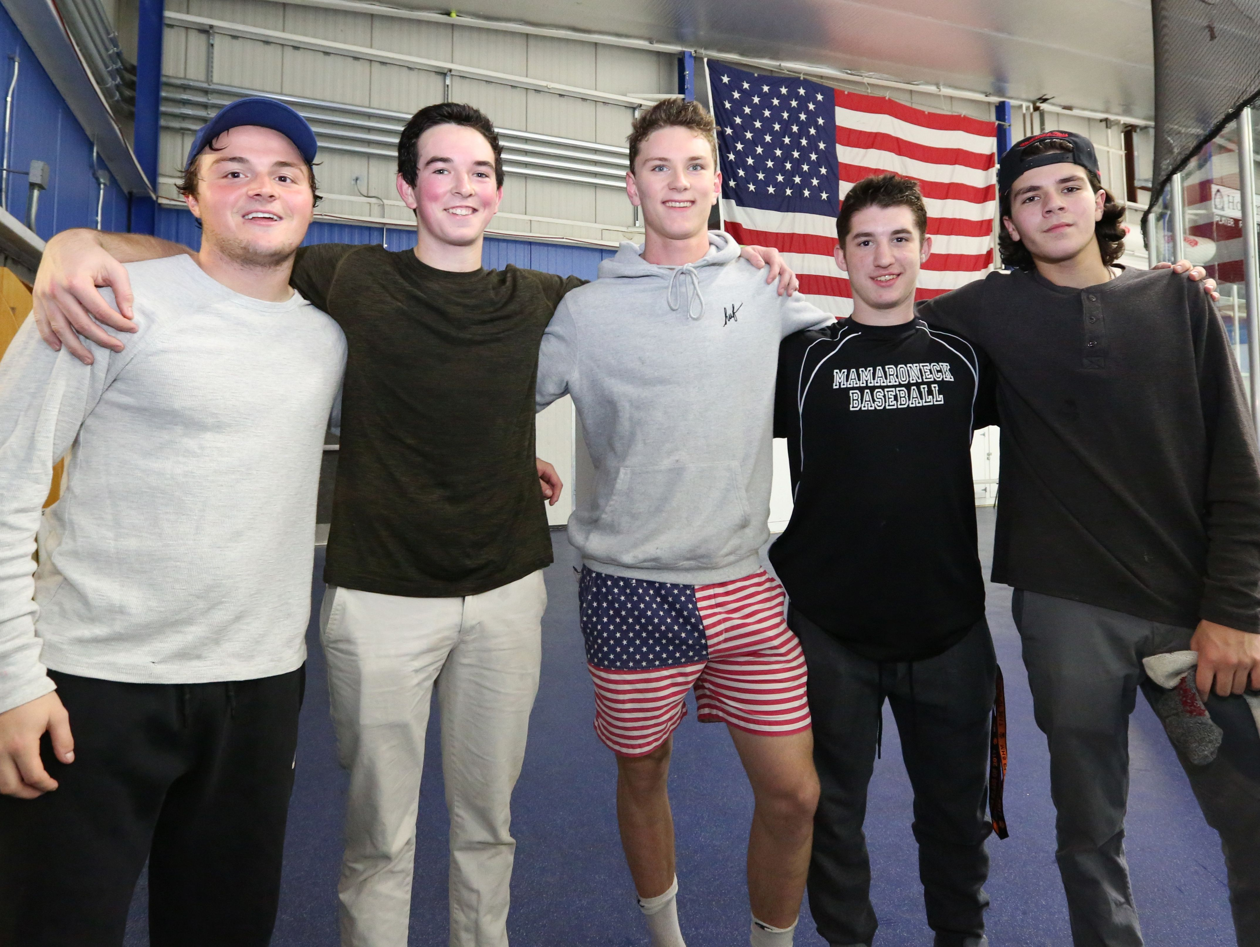 Mamaroneck hockey captains Matt DiCicco, left, Will Payne, James Torre, Tommy Spero and Michael Carducci after a practice at Hommocks ice rink Nov. 9, 2016.