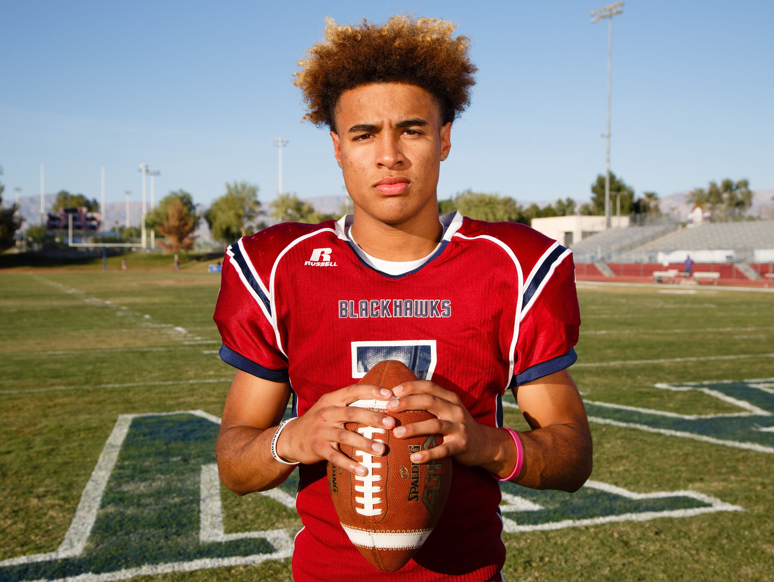 Justin Anderson, a quarterback and wide reciever for La Quinta, will play with the Blackhawks in their first round playoff game this Friday, Wednesday, November 9, 2016.