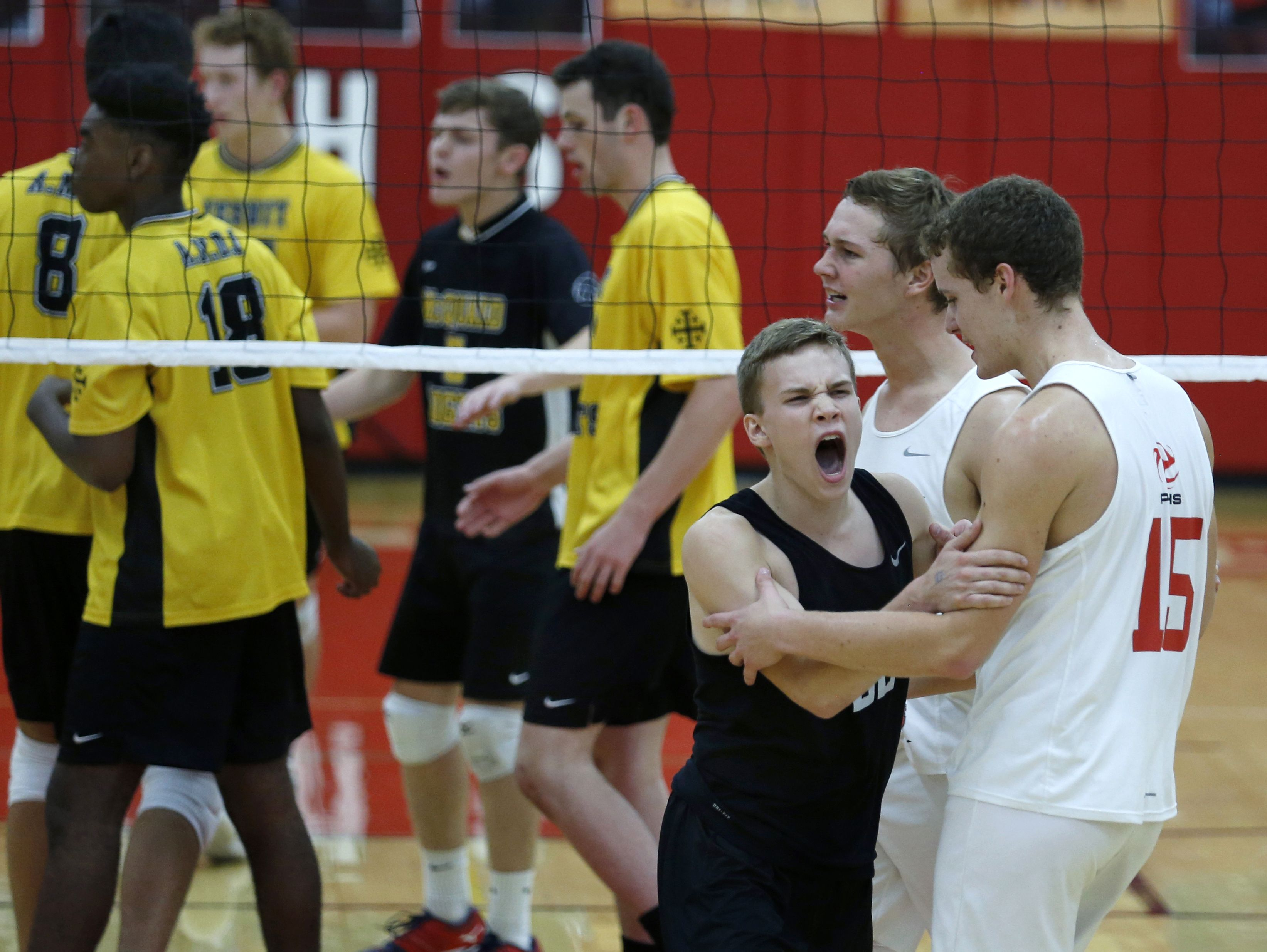 Penfield's Peter Klembczyk shows his excitement against McQuaid in an early season match.