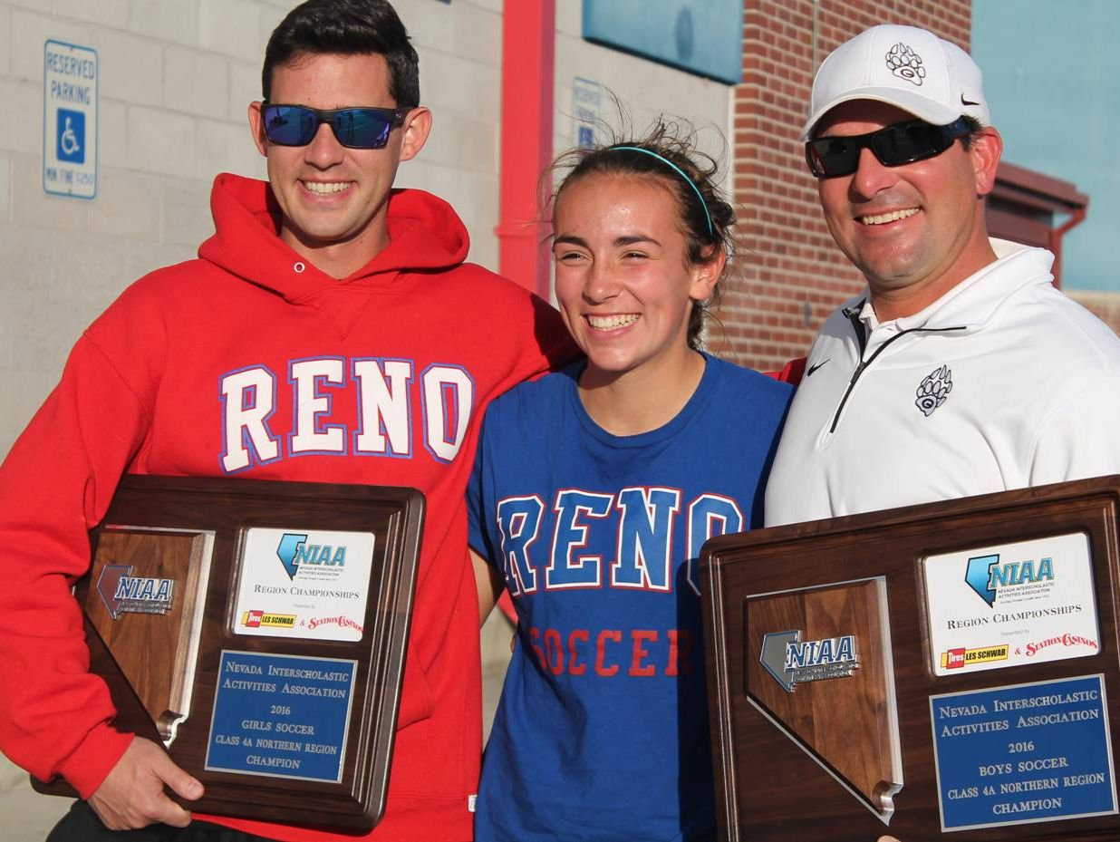 Reno girls varsity soccer Coach, Garrett Moss; Gabriela Merlo (middle) and Gabriela's father Marco Merlo (right) who is the Galena boys soccer coach.