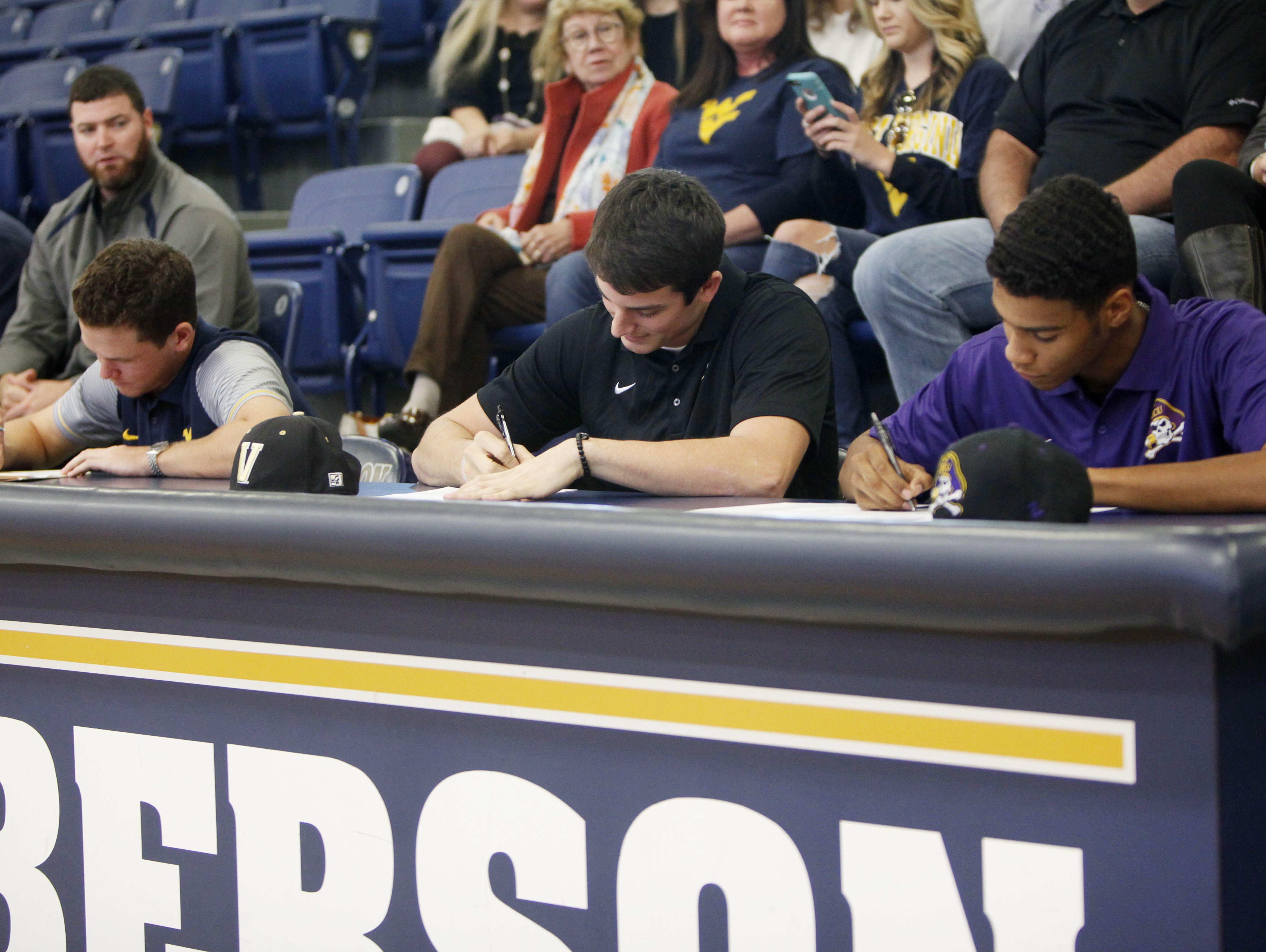 Roberson baseball teammates Garrett Blaylock (Vanderbilt) and Collin Watt (East Carolina) signed with colleges on Wednesday along with Rams golfer Matt Sharpstene (West Virginia).