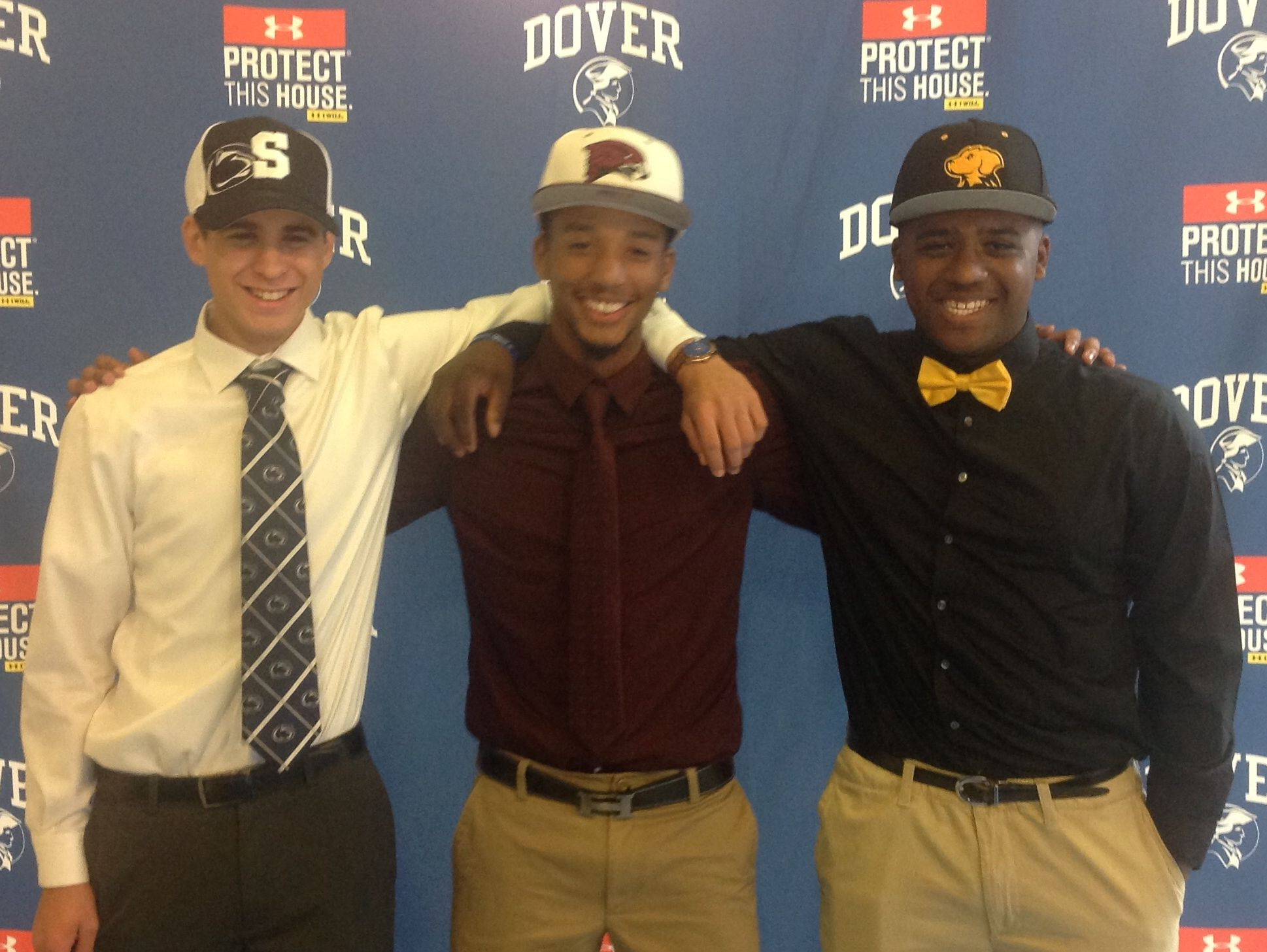 Dover High senior baseball players (from left) Joey Wunsch (Penn State Mont Alto), Avery Tunnell (UMES) and Dmitri Floyd (UMBC).