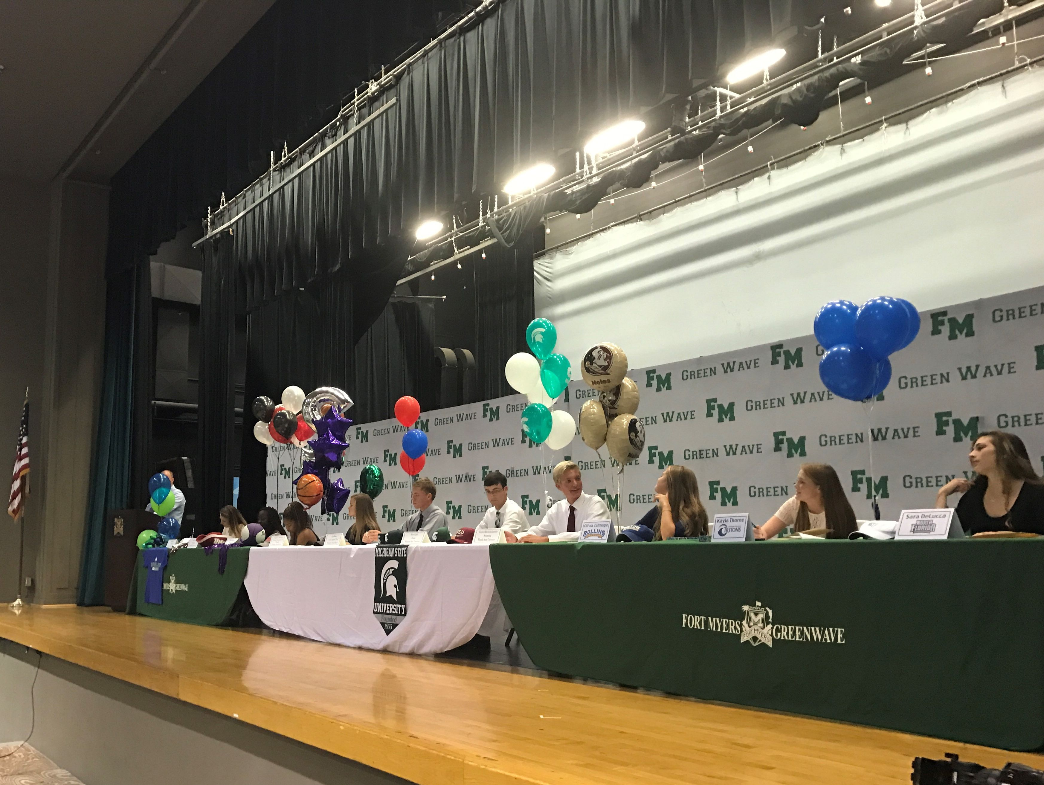 Ten Fort Myers High athletes signed National Letters of Intent on Thursday at the school auditorium.