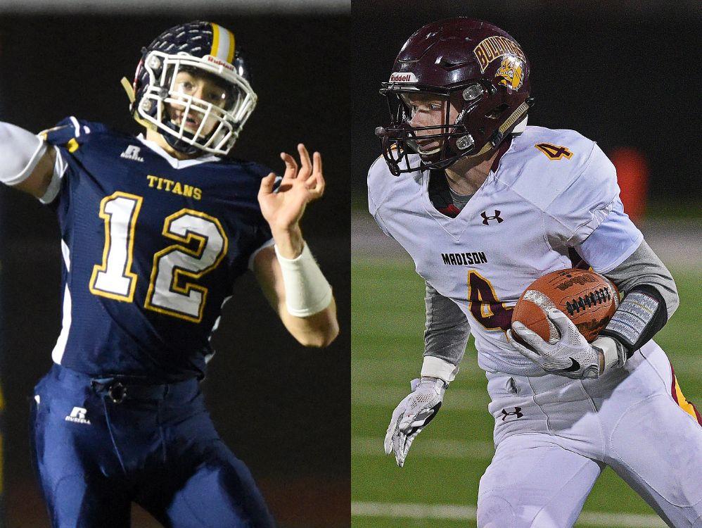LEFT: Tea quarterback Payton Conrad RIGHT: Madison receiver Mason Leighton