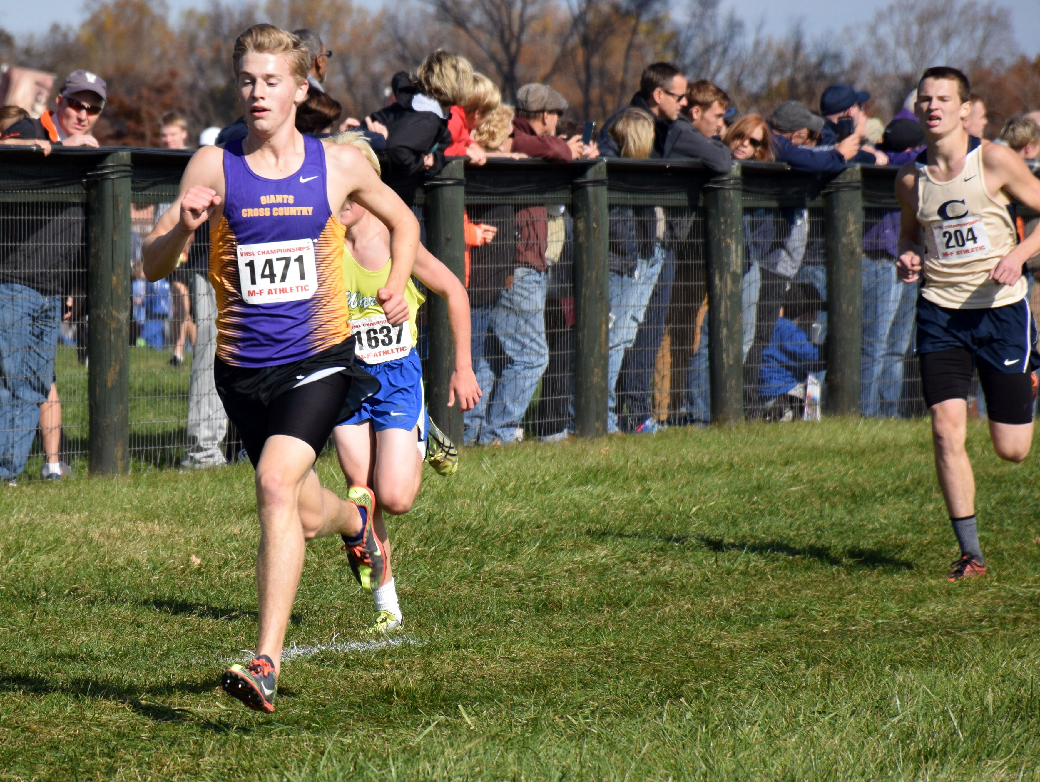 Waynesboro's Chandler Showalter approaches the finish line of the Group 3A boys race at the VHSL cross country championships at Great Meadow in The Plains on Friday, Nov. 11, 2016.