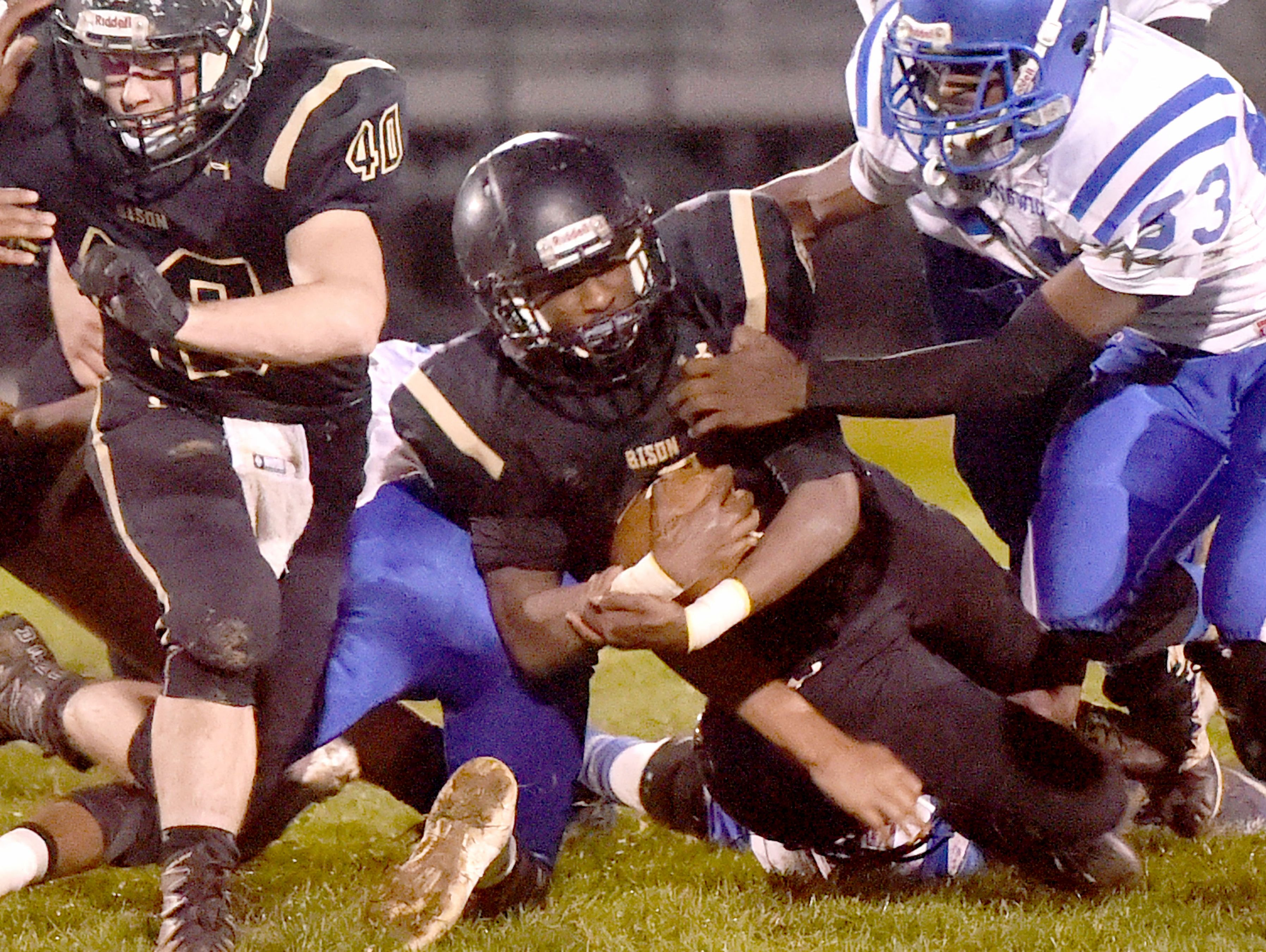 Buffalo Gap's Dylan Thompson is brought down with the ball during a football game played in Swoope on Oct. 27, 2016.