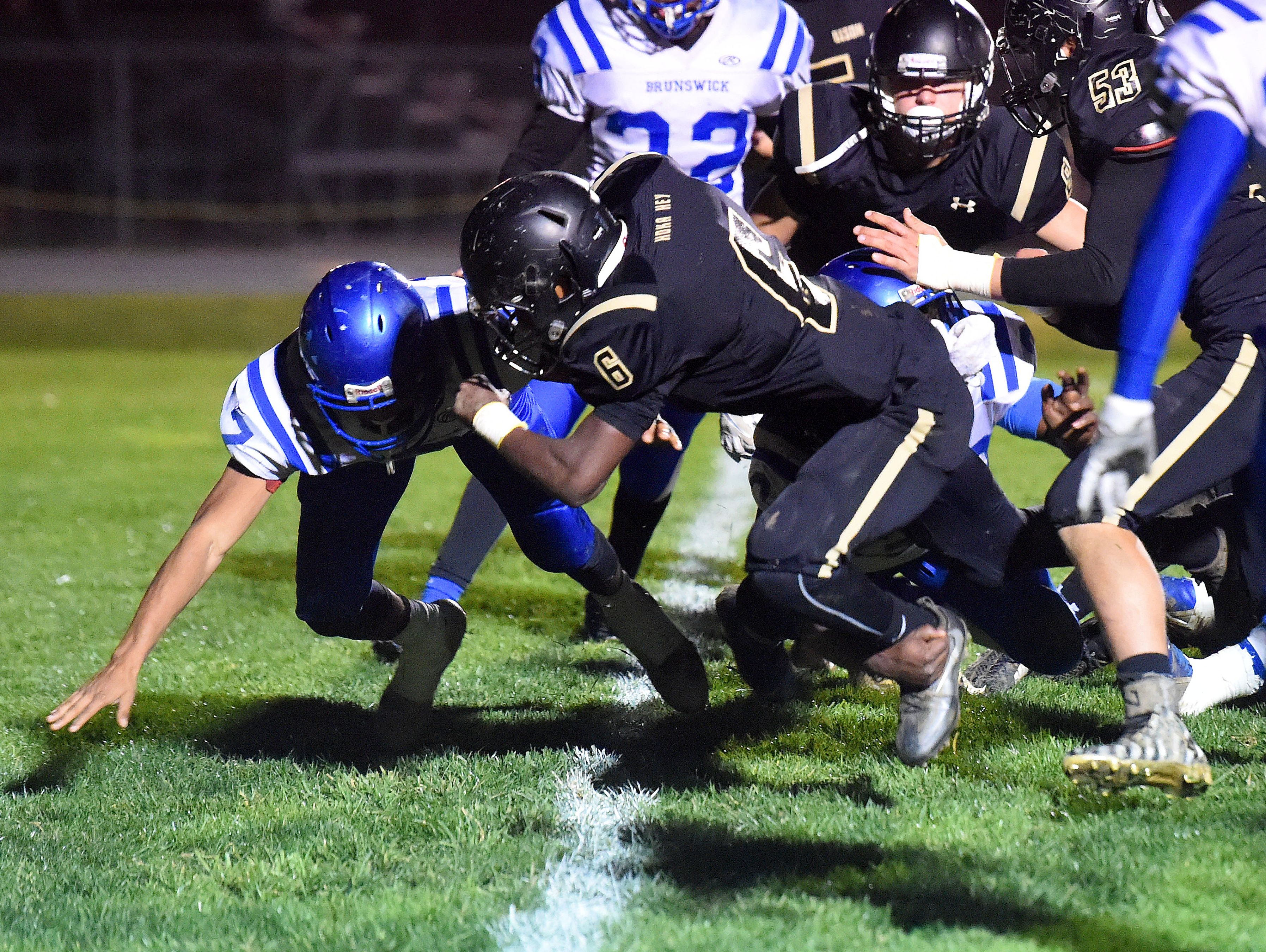 Buffalo Gap's Dylan Thompson crosses the goal line with the football for a touchdown during a football game played in Swoope on Oct. 27, 2016.