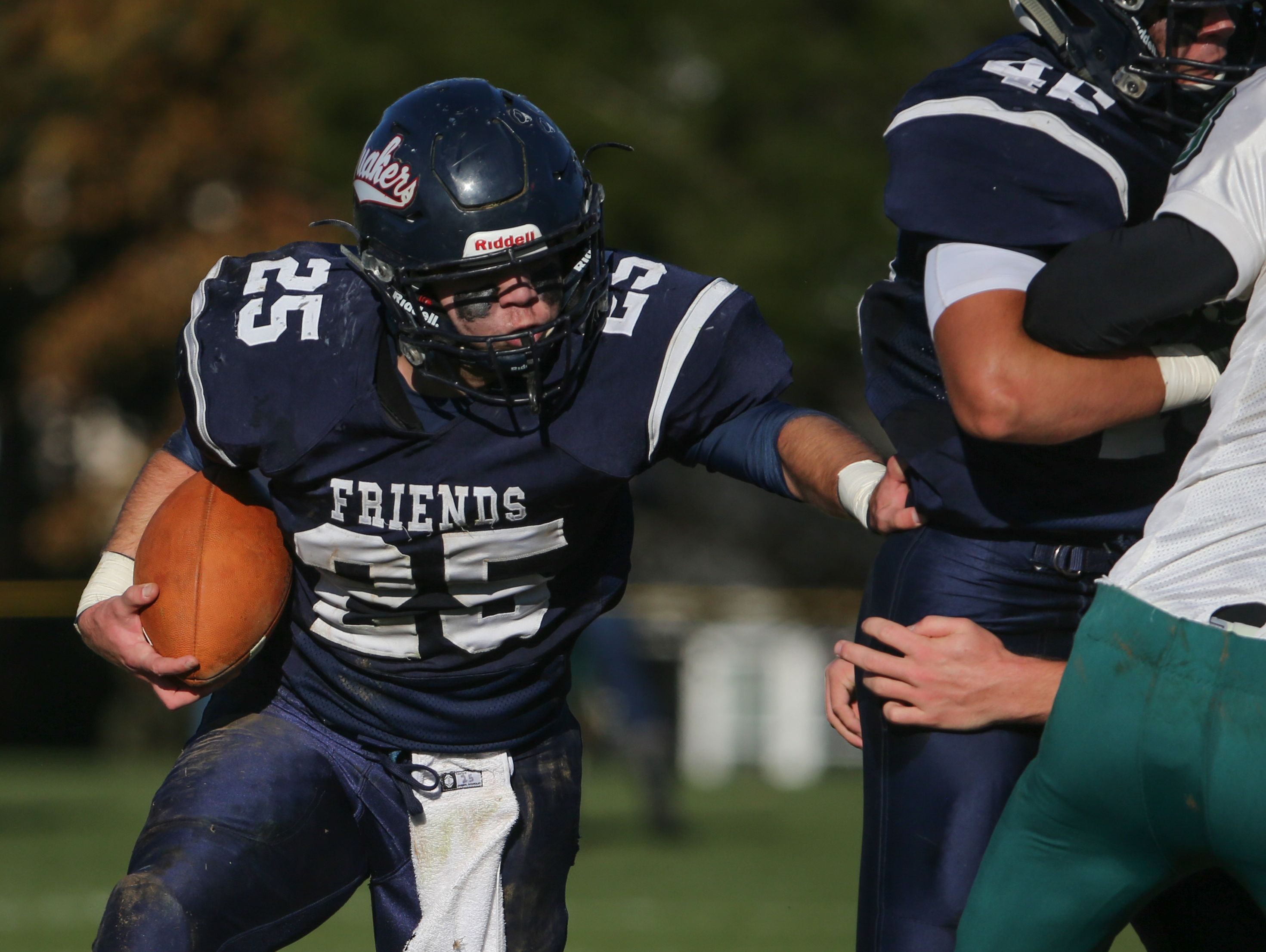 Friends running back Henry Gise runs the ball in the second quarter against Tower Hill at Friends Saturday.