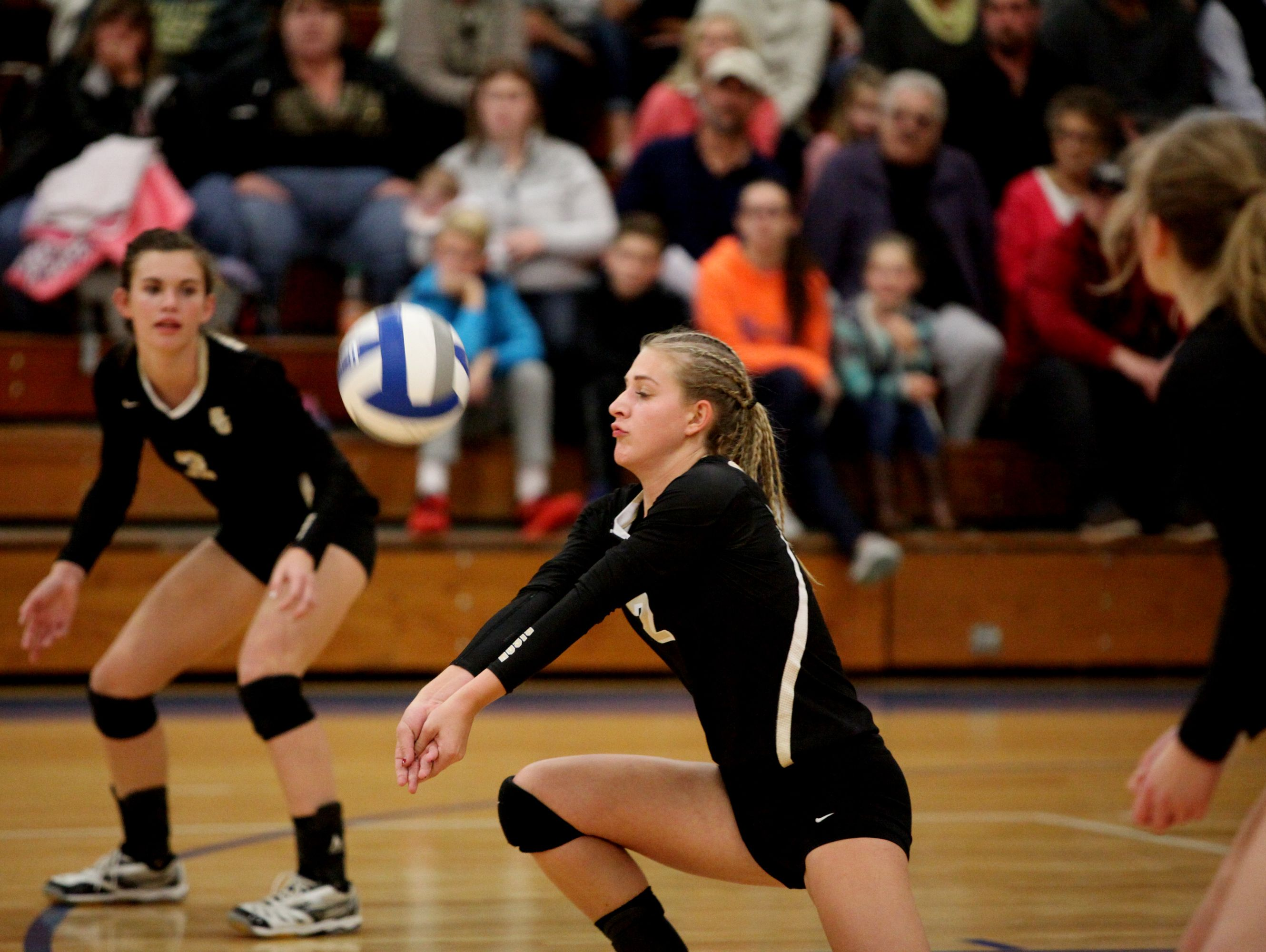 Buffalo Gaps's Abby Flint bumps the ball during the 2A girls volleyball championship at R.E. Lee High School in Staunton on Saturday Nov. 12, 2016.