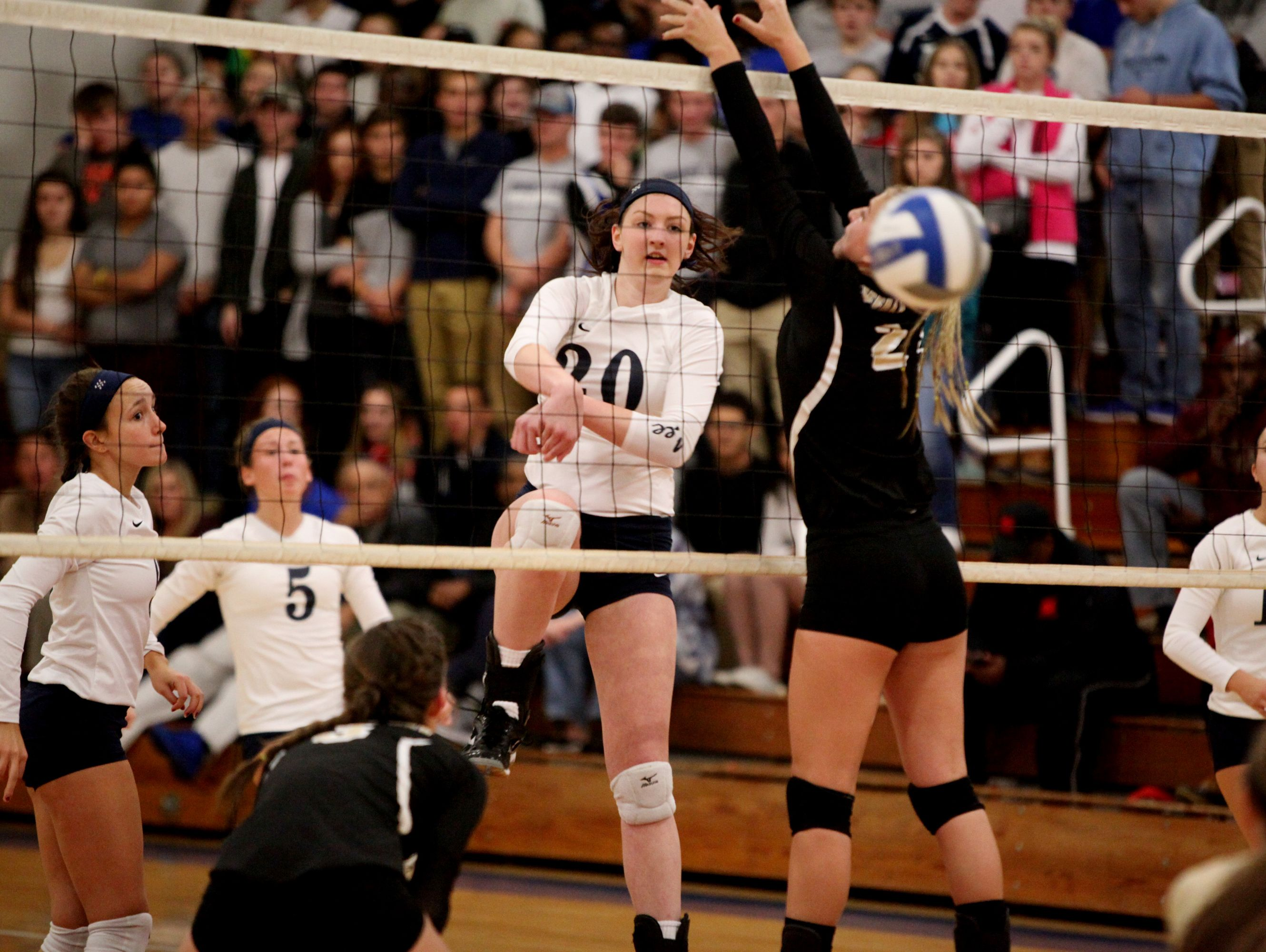 Lee's Alyx Steitz spikes the ball during the 2A girls volleyball championship at R.E. Lee High School in Staunton on Saturday Nov. 12, 2016.